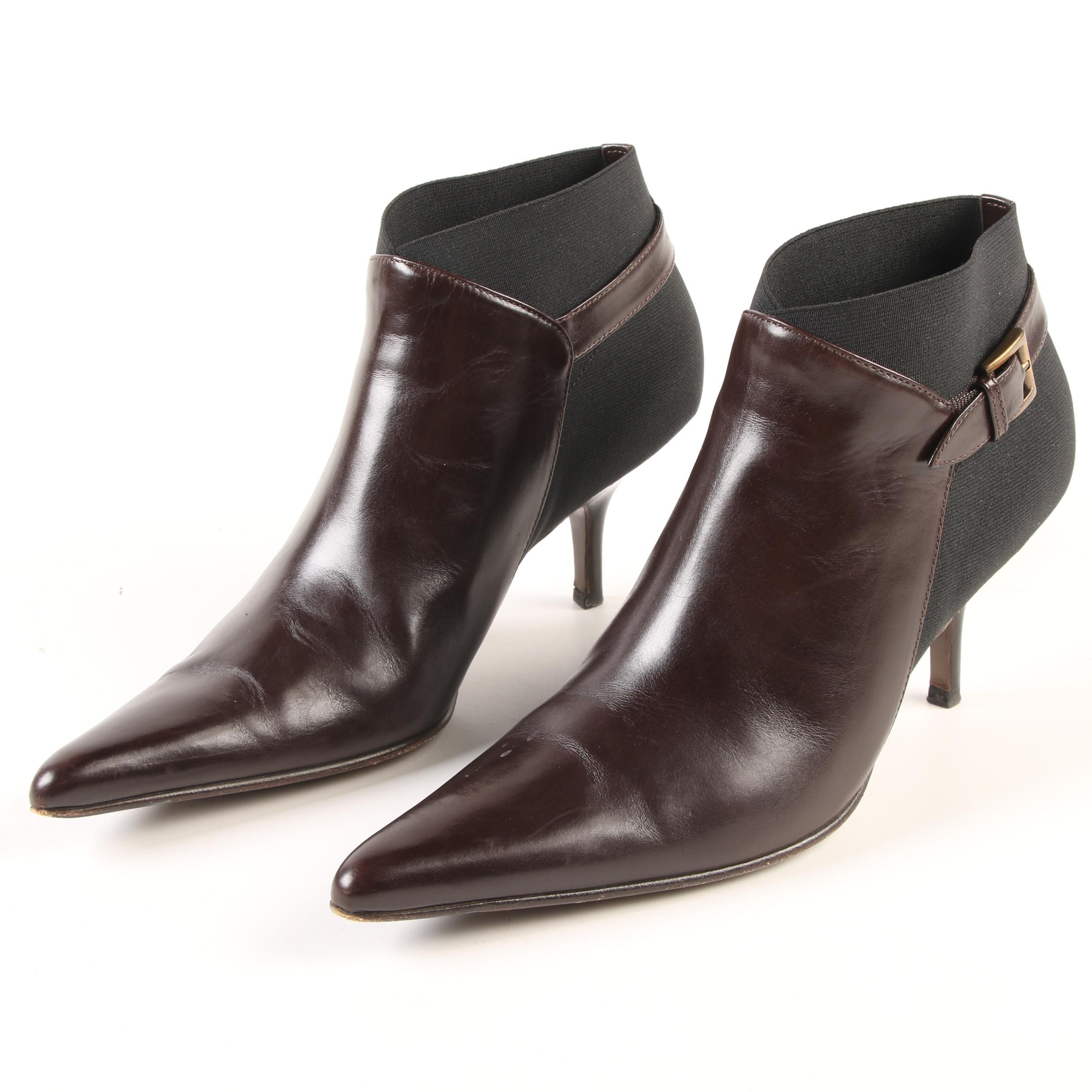 Walter Steiger Brown Leather and Black Stretch Panel Ankle Boots