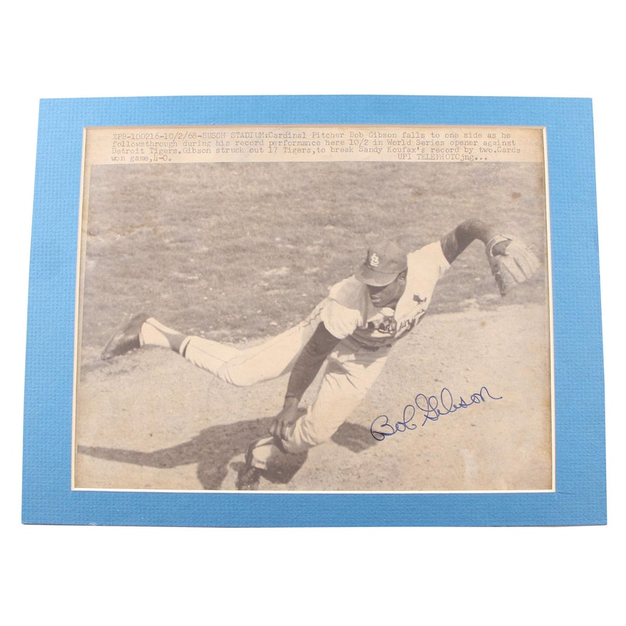 Bob Gibson Autographed World Series Photo in Matted Display