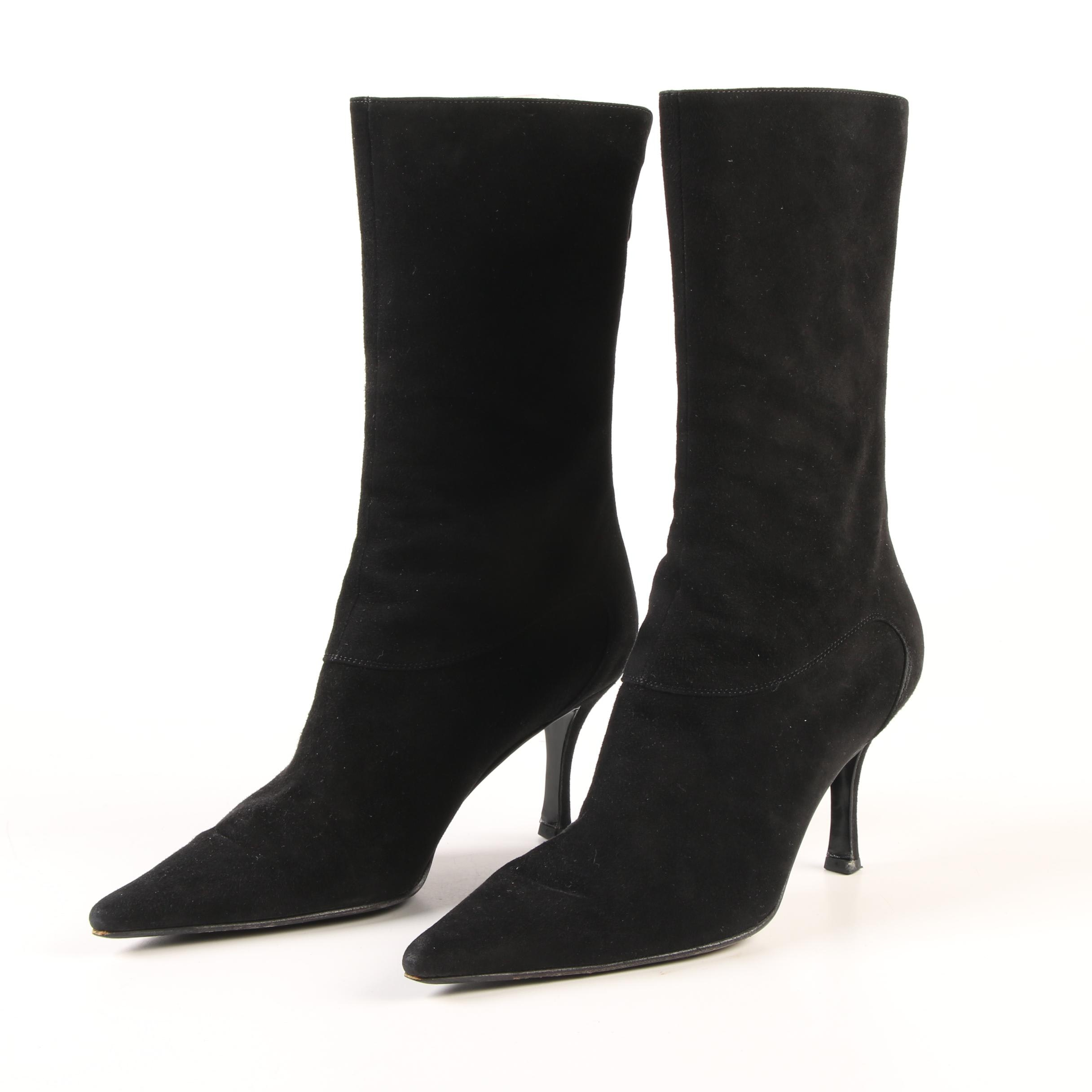 Sergio Rossi Black Suede Pointed Toe Mid-Calf High Heel Boots