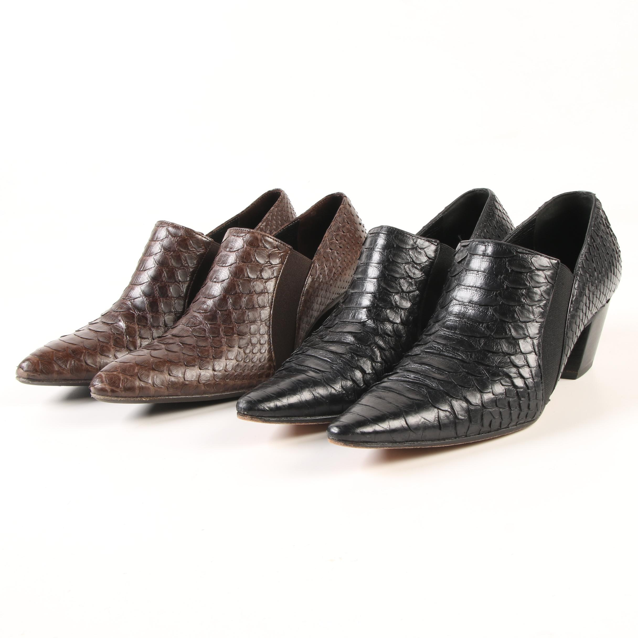 Walter Steiger Dyed Brown and Black Python Skin Pointed Toe Booties