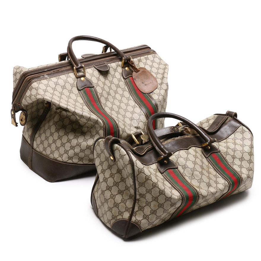 4df0977c1e21 Gucci GG Supreme Canvas Boston Sherry Web Duffle and Weekender Bag, Circa  1970 | EBTH