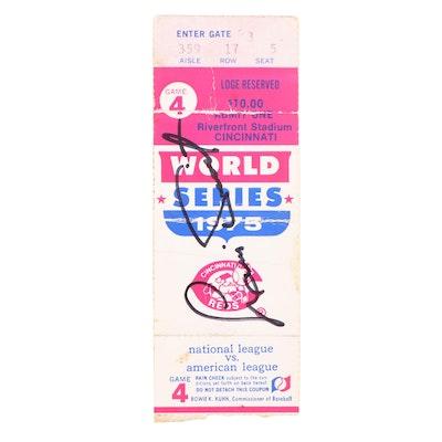 Luis Tiant Signed 1975 World Series Used Ticket Stub