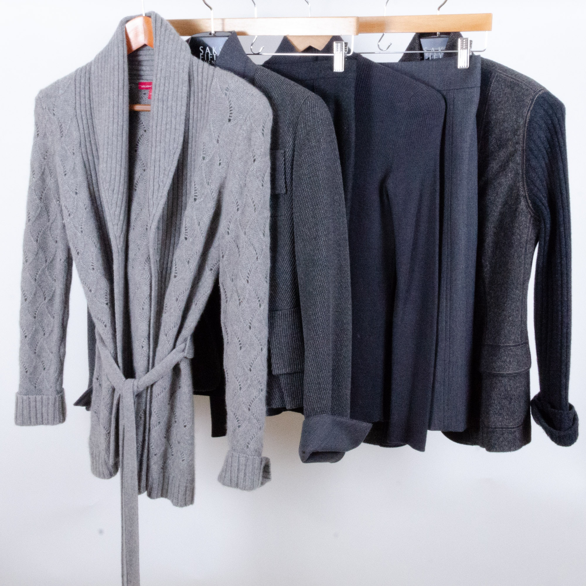 Saks, Akris Punto, and Escada Wool Jackets and Skirts with Cashmere Sweater