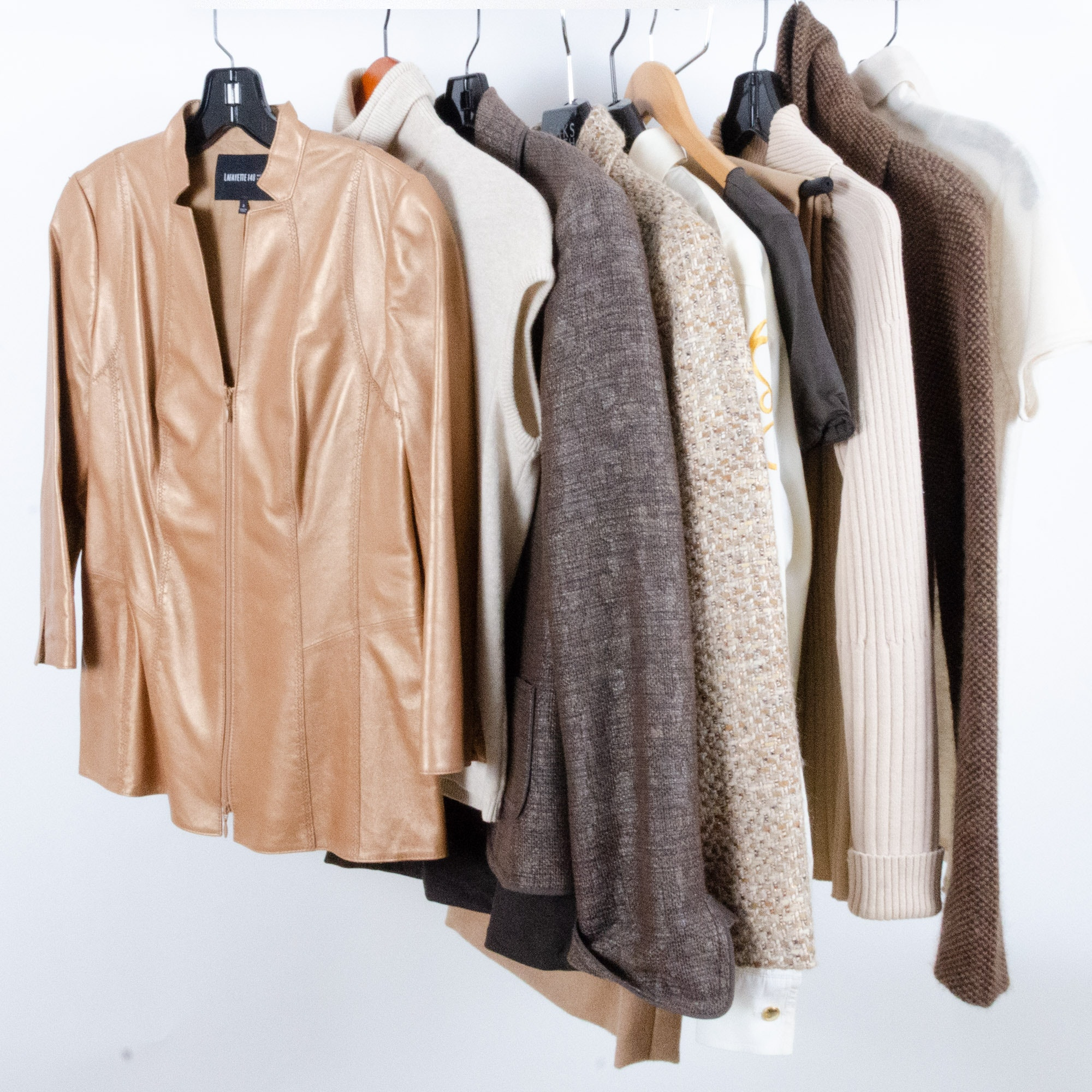 Armani, Escada, and Lafayette 148 Jackets, Skirts and Sweaters with Leather