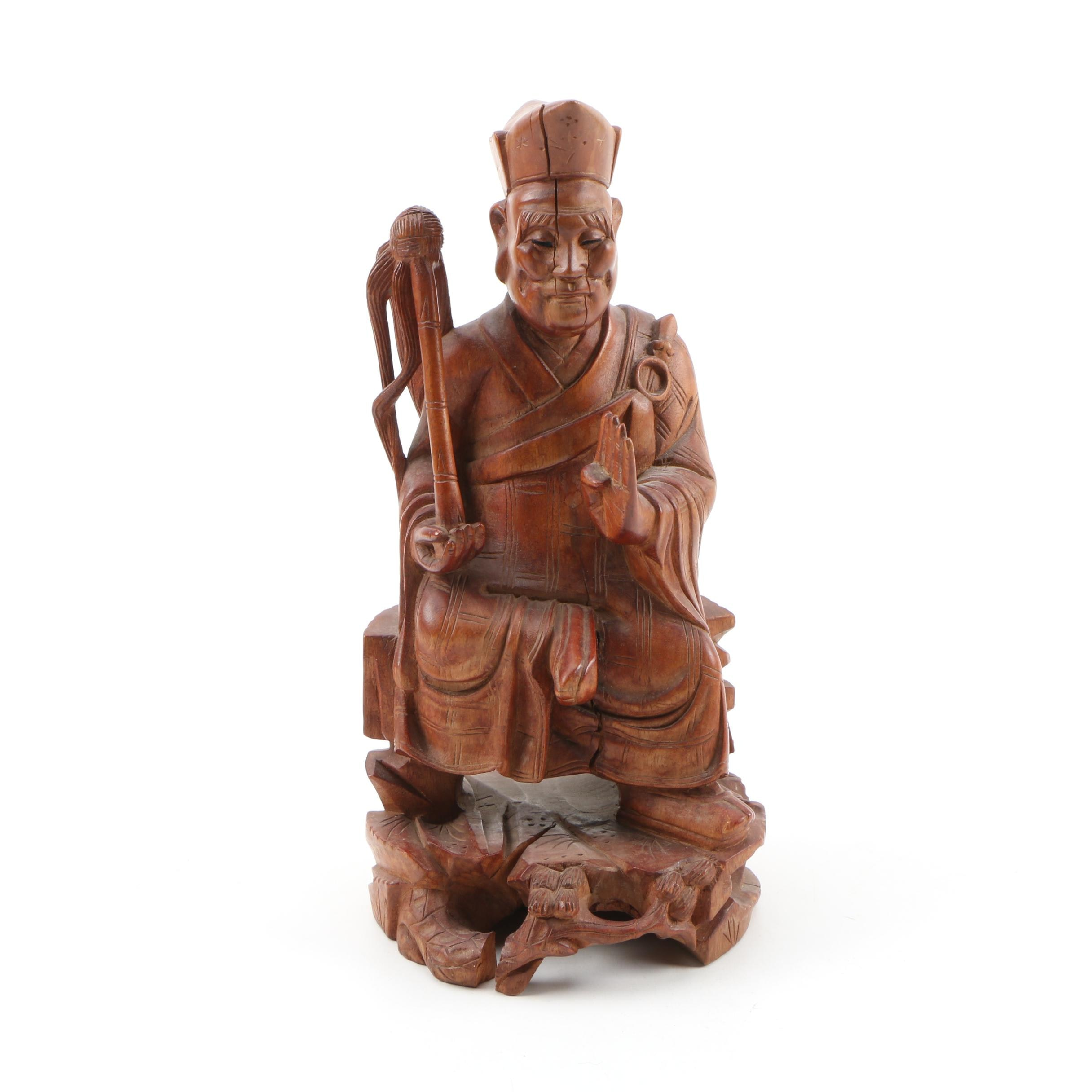 Chinese Carved Wood Seated Figure