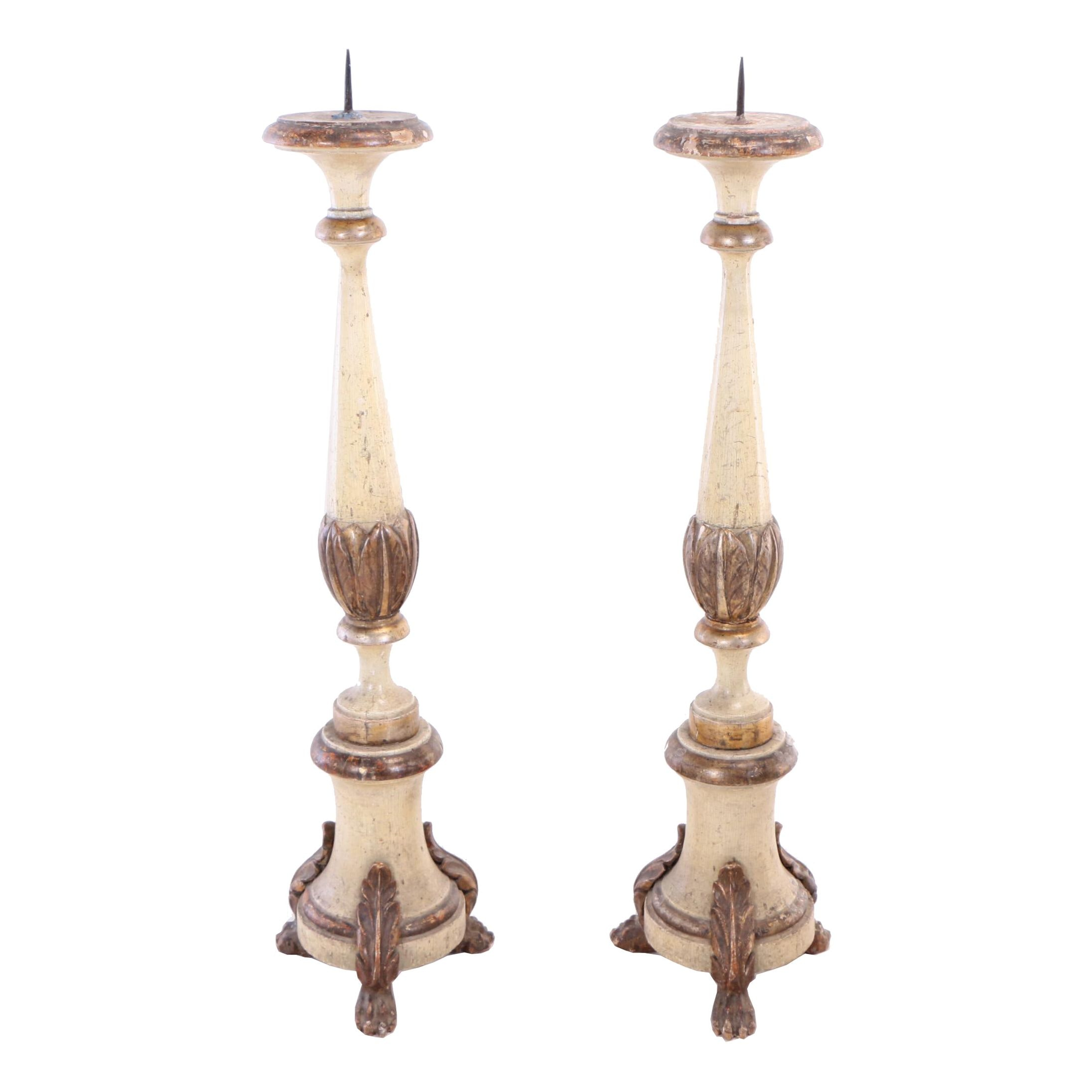 Painted and Parcel-Gilt Pricket Candlesticks, Probably Italian, 19th Century