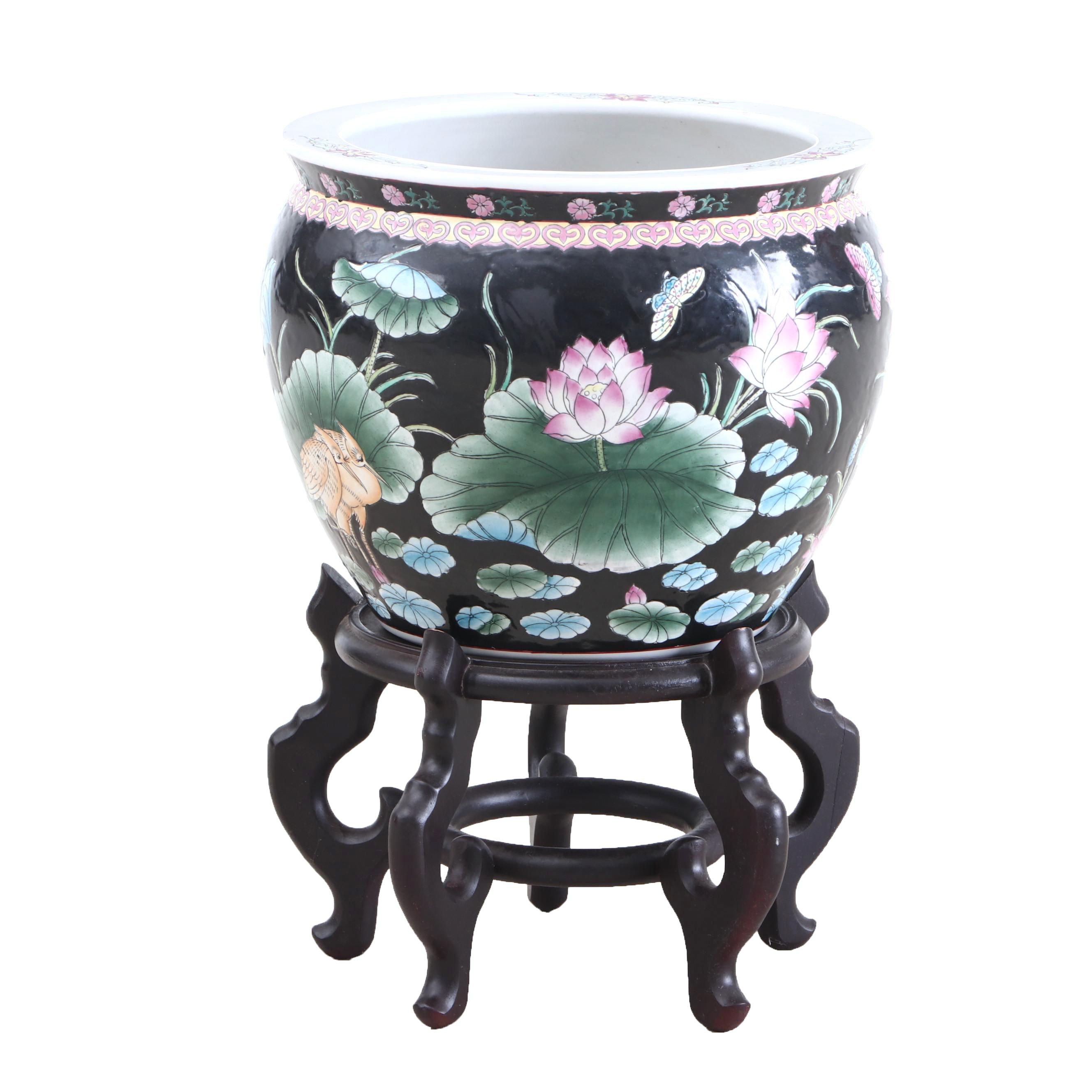 Chinese Motif Ceramic Goldfish Bowl and Mahogany Stand, Contemporary