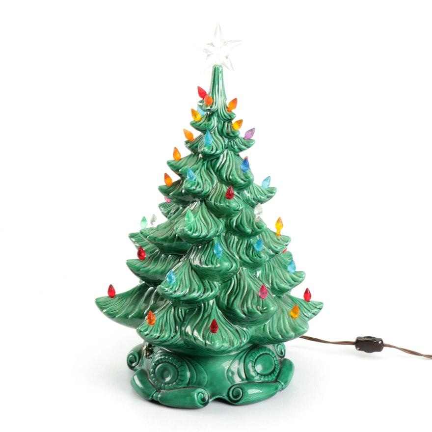 Atlantic Mold Ceramic Christmas Tree Lamp With Noel Music Box 1970s