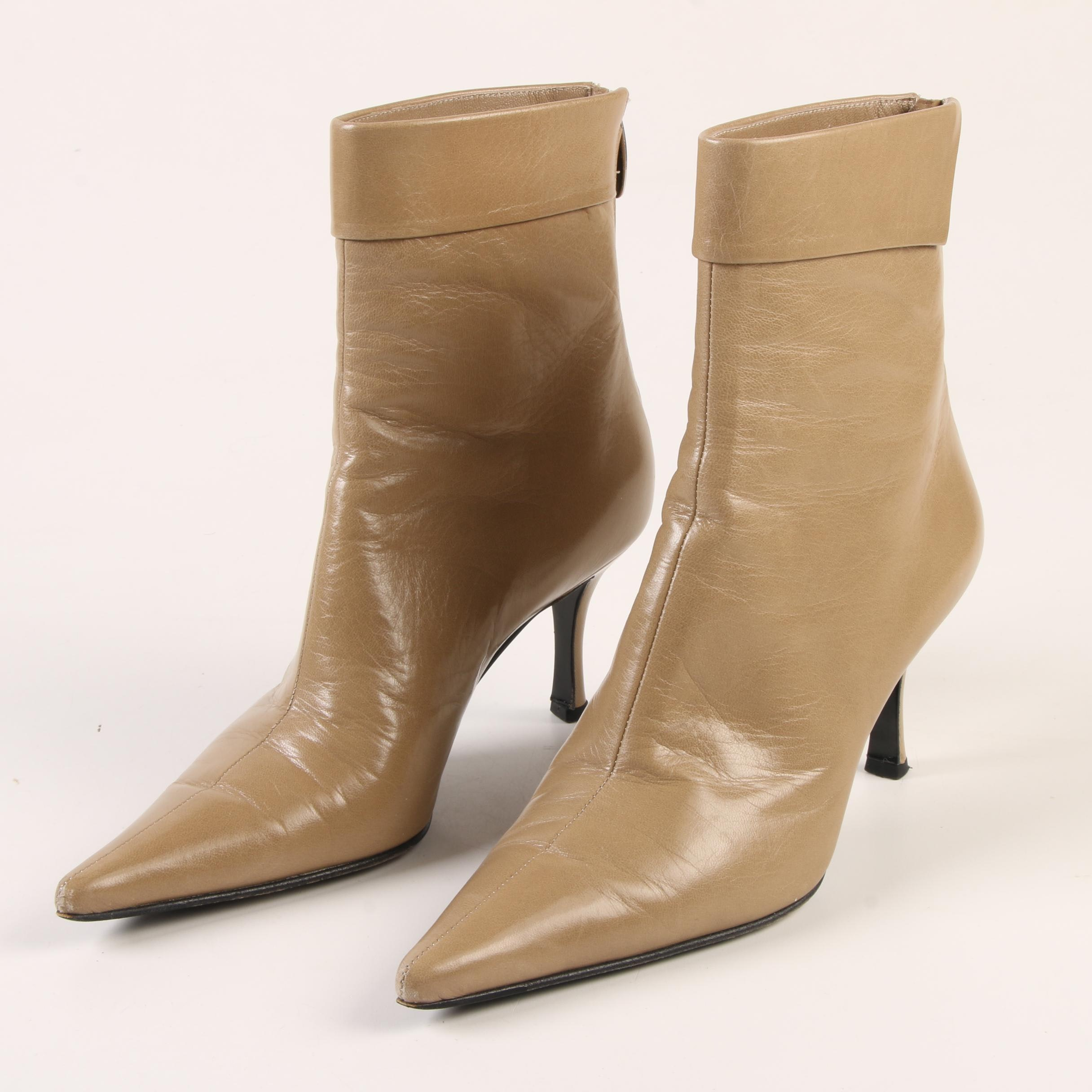 Sergio Rossi Beige Leather Cuffed High Heel Ankle Boots