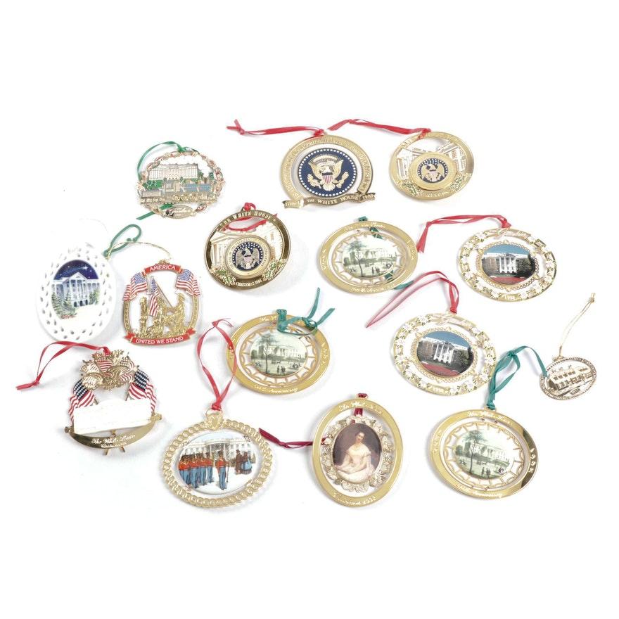 White House Christmas Ornament.Gold Tone White House Christmas Ornaments Featuring Whha