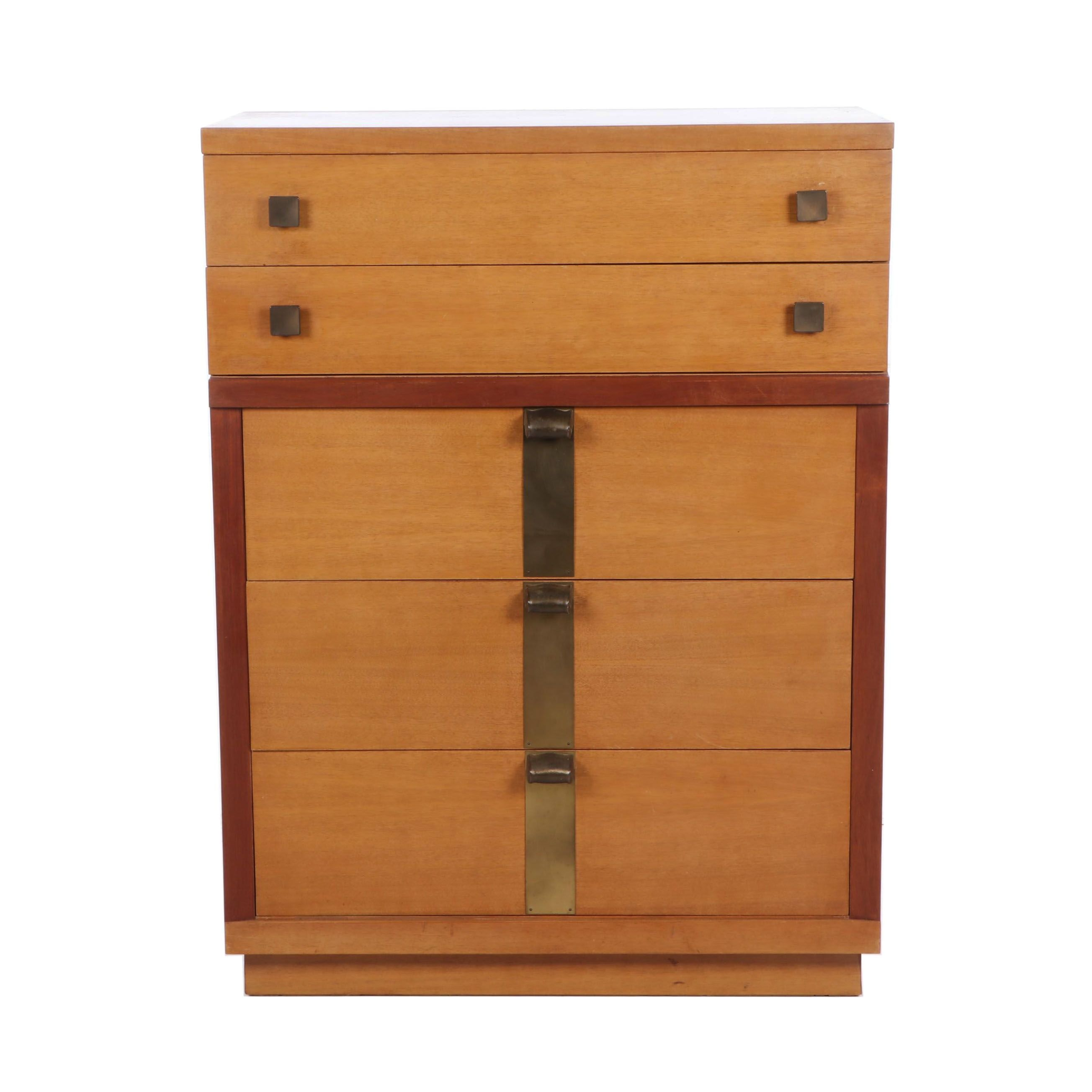 Amerticam Art Deco Style Chest, Mahogany and Brass Mounted, Mid 20th Century