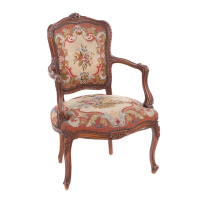 Louis XV Style Needlepoint Upholstered Wooden Armchair, Mid to Late 20th Century