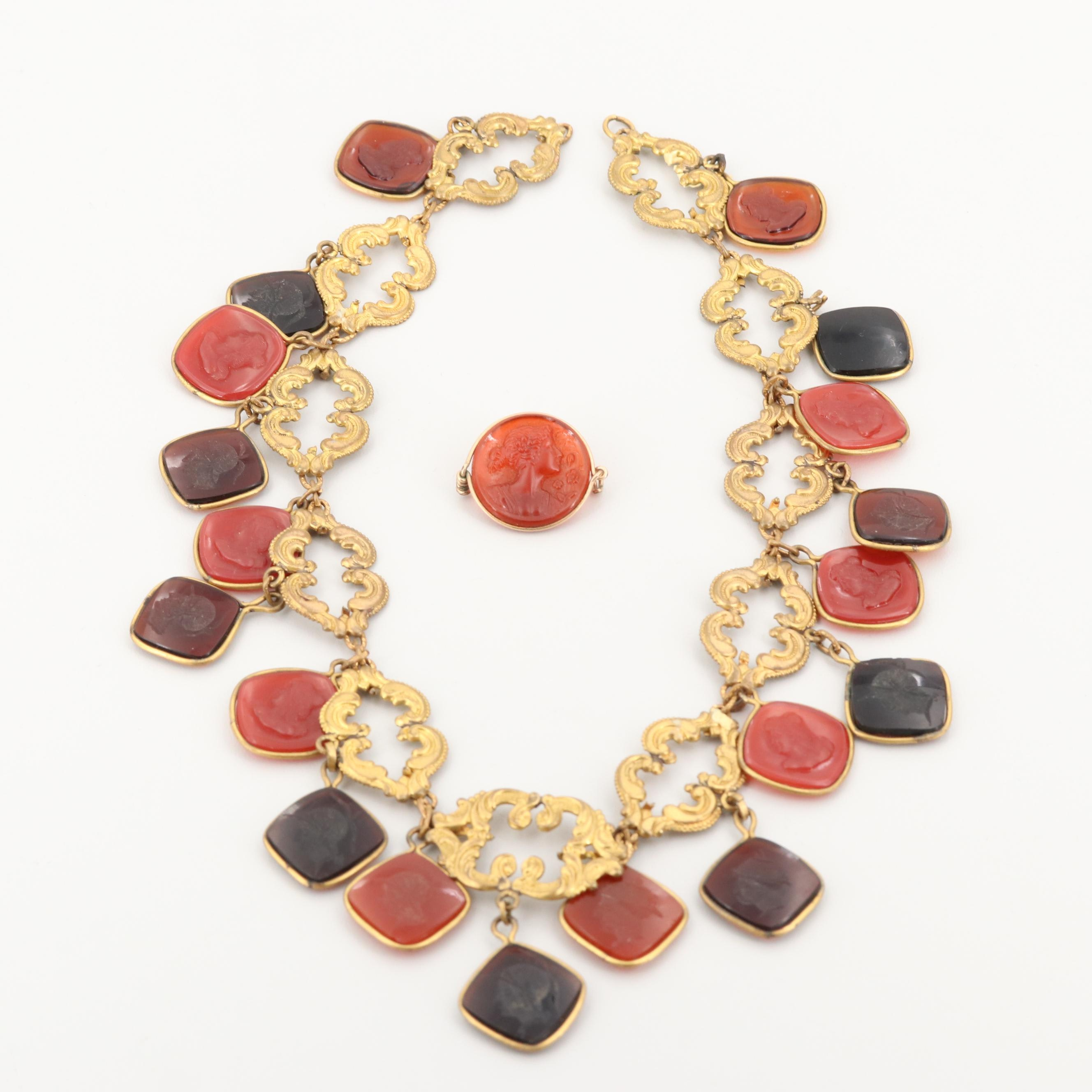 Glass Intaglio and Scroll Motif Link Necklace