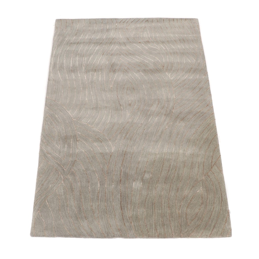 Hand-Tufted Indian Wool Wave Design Rug from Oscar Isberian