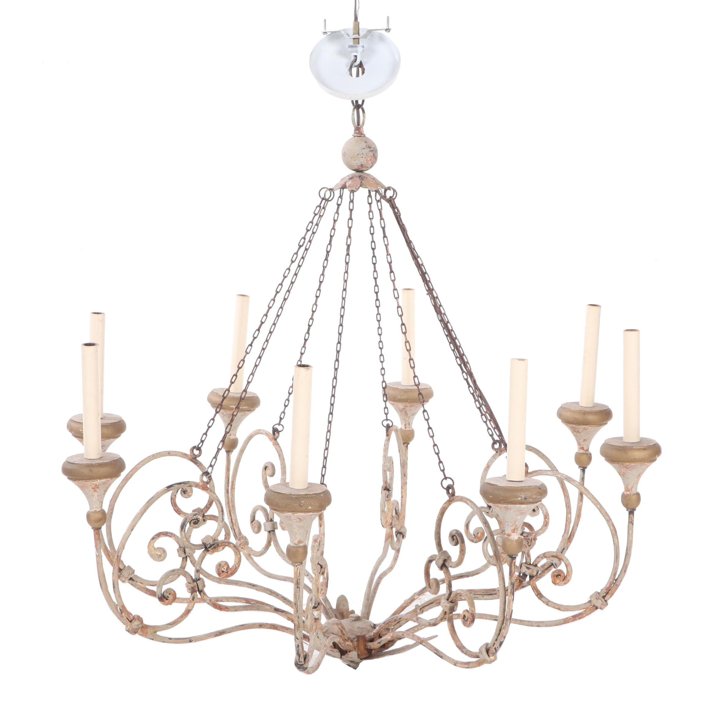 French Provincial Style Scrolled Metal Chandelier, Early 20th Century