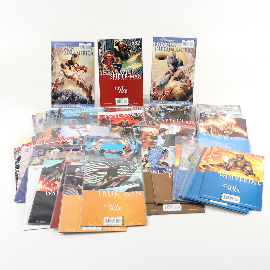 """Assorted Comics from Marvel's """"Civil War"""" Series, Modern Age"""
