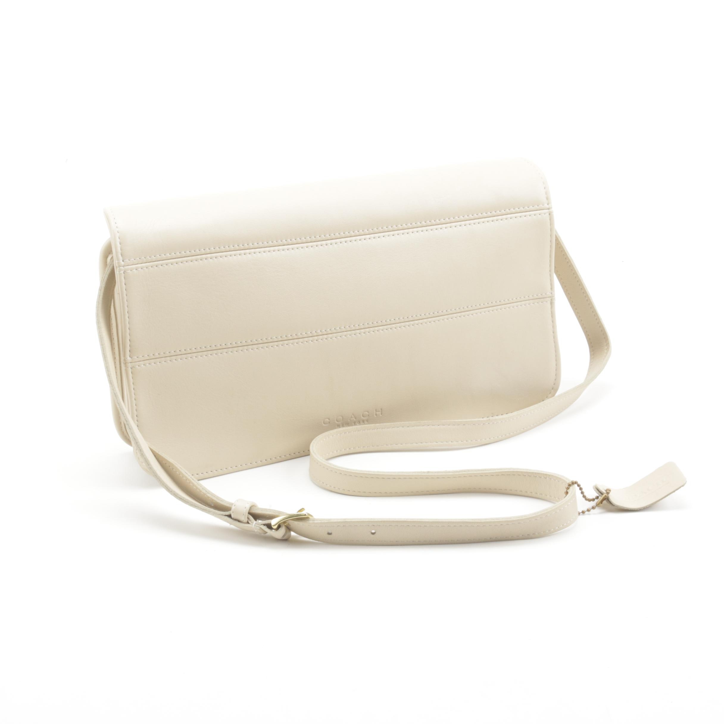 Coach Off-White Leather Convertible Clutch and Crossbody Bag, Vintage