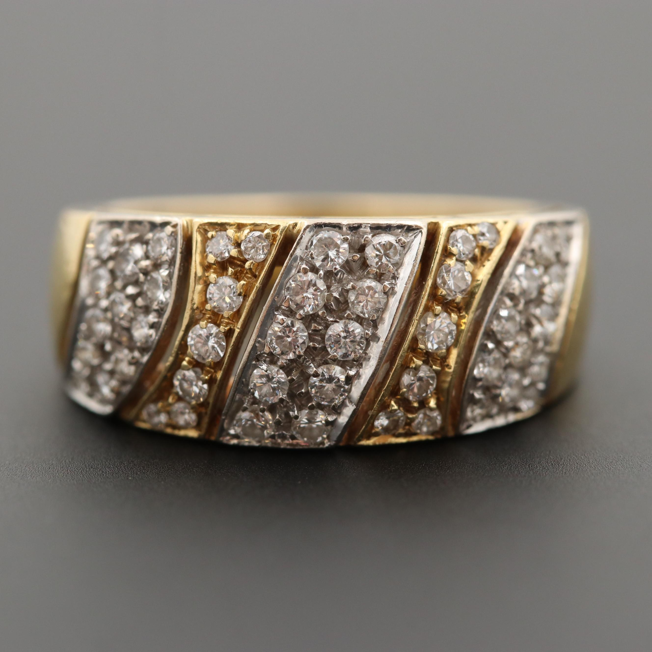 18K Yellow Gold Diamond Ring with White Gold Mountings