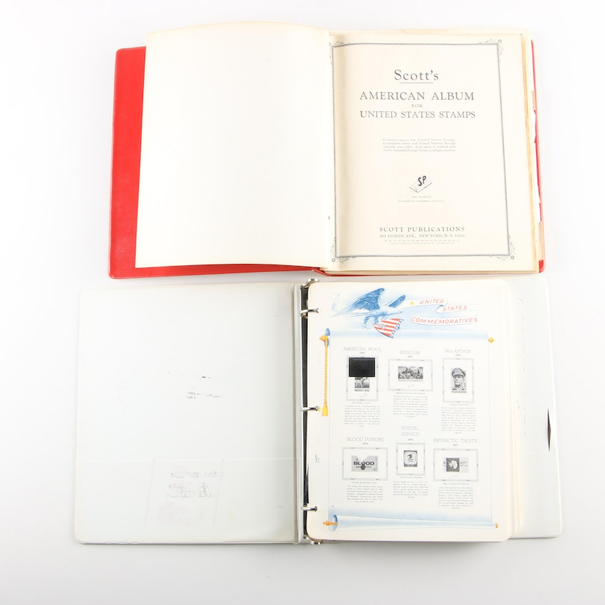 Two U S  Stamp Collecting Albums