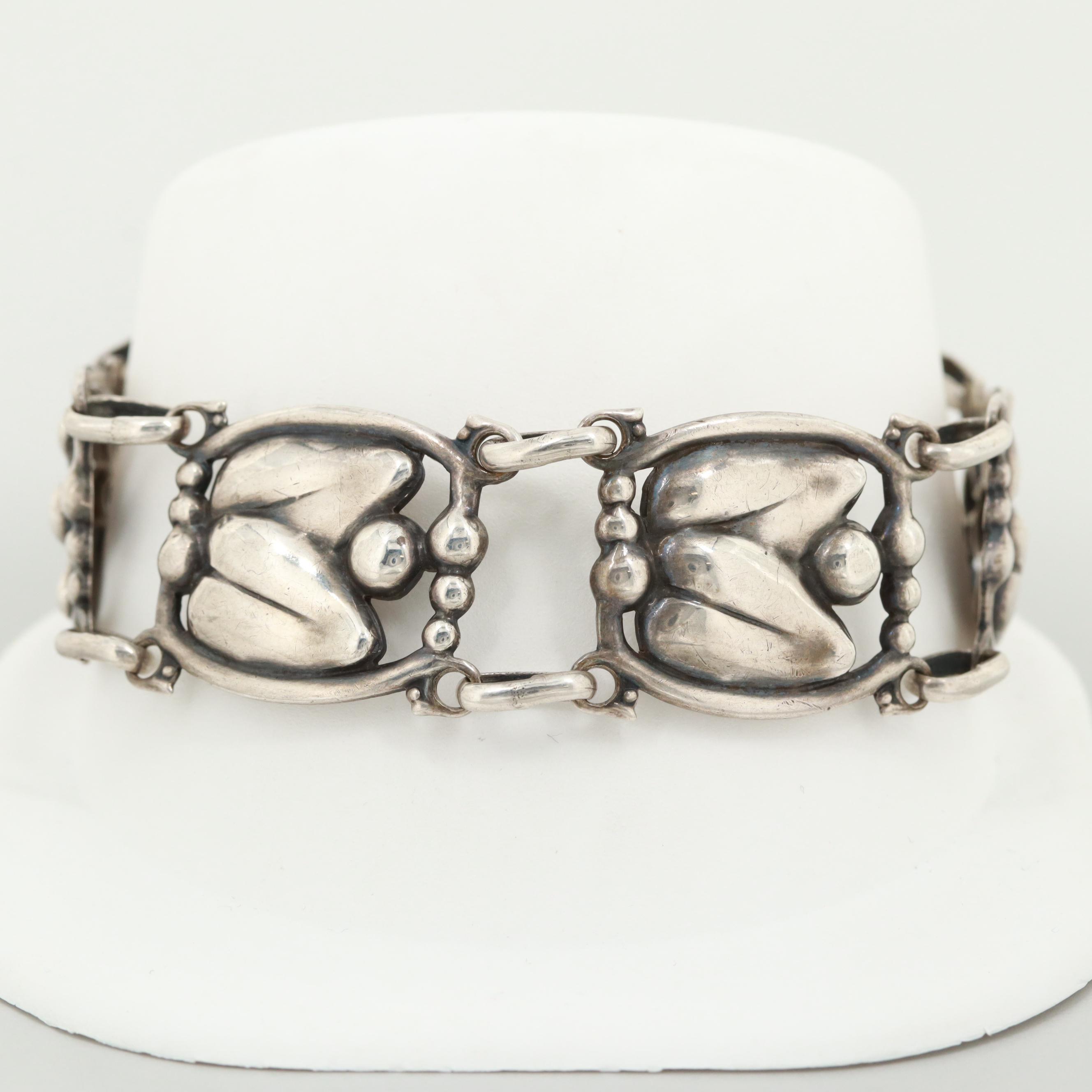 Scandinavian Style Sterling Silver Leaf Motif Bracelet
