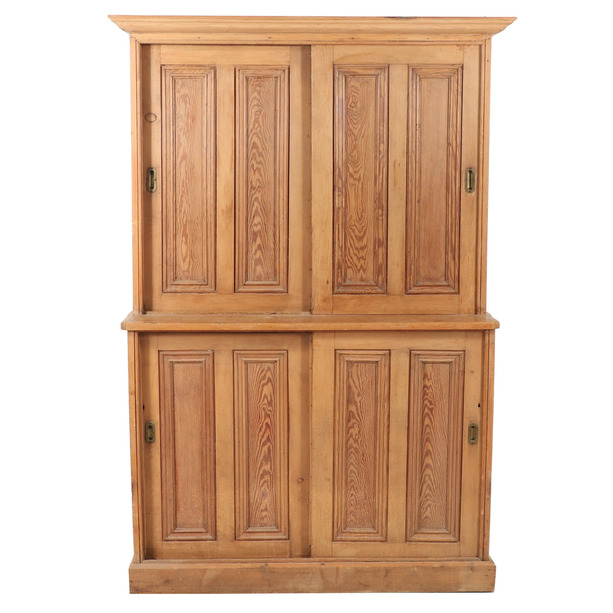 Continental Pitch Pine Sliding Door Cabinet, Late 19th Century