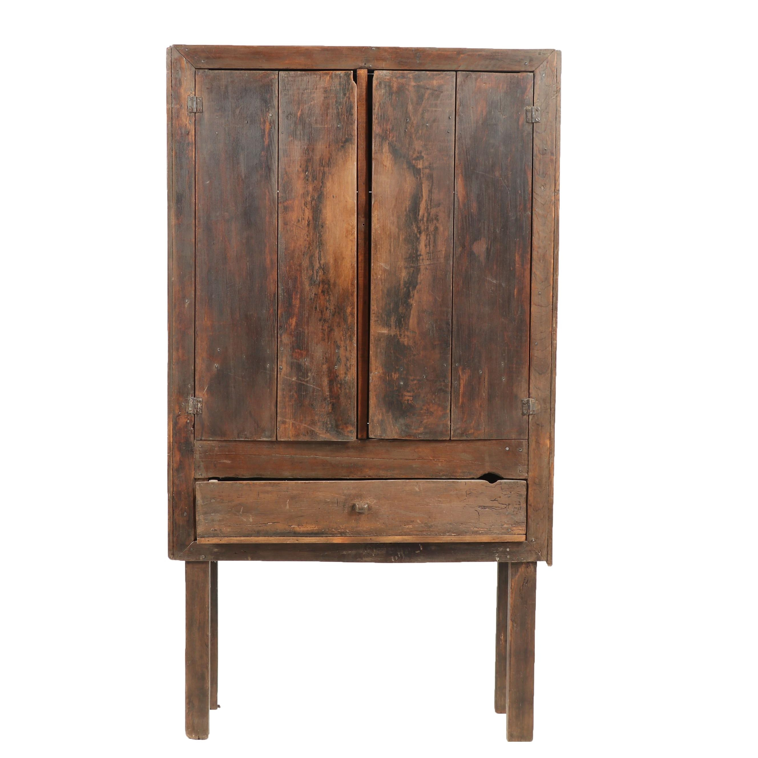 American Primitive Wooden Cabinet, 19th Century and Later