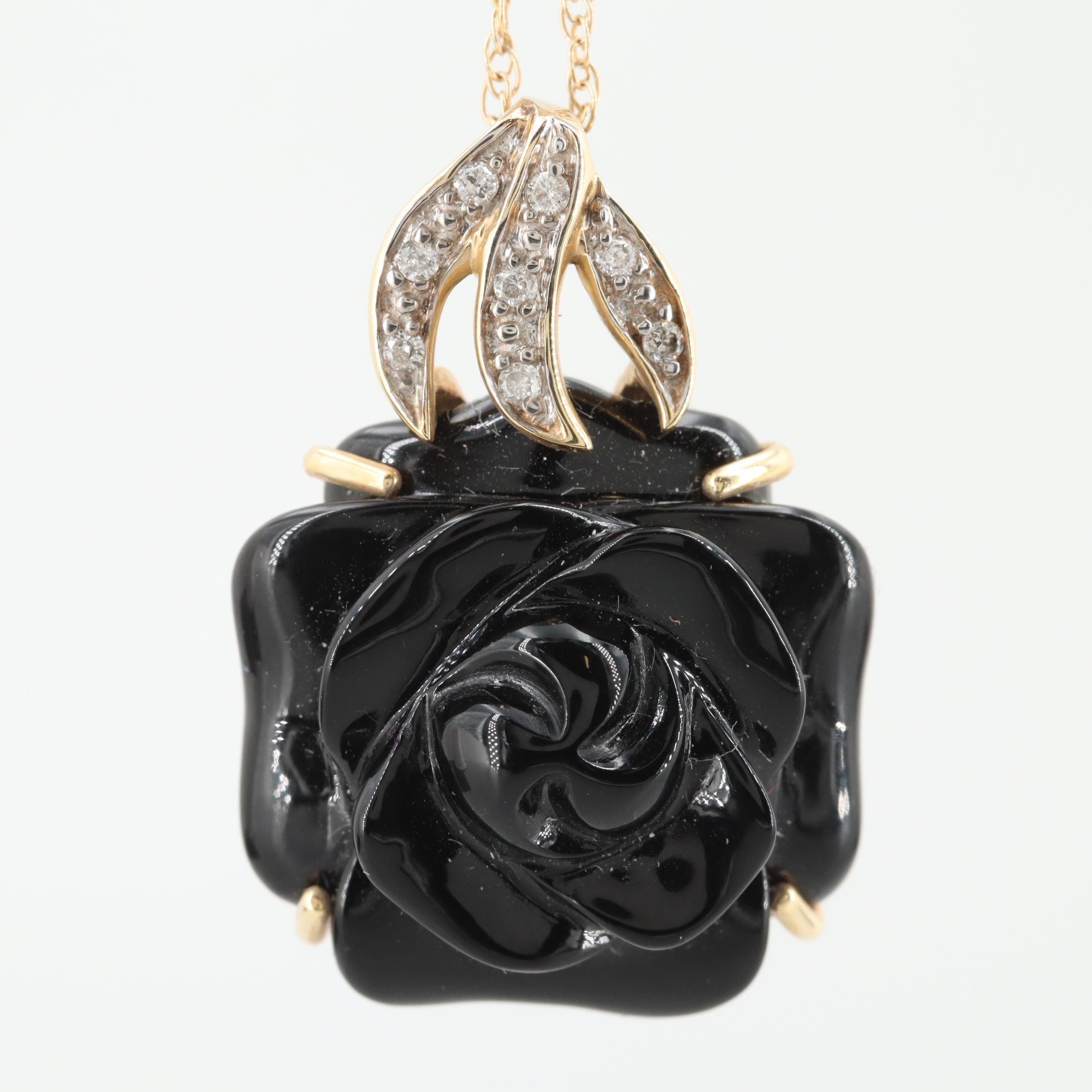 14K Yellow Gold Carved Black Onyx Rose and Diamond Pendant Necklace