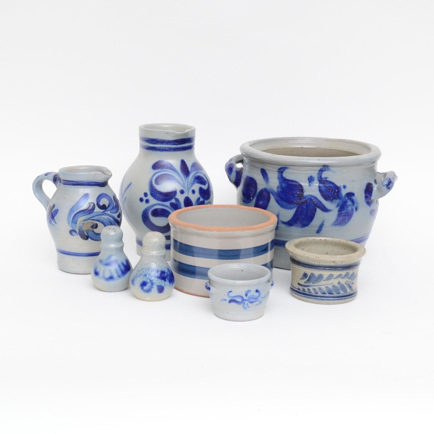 Blue Underglaze Decorated Stoneware Crocks and Serveware