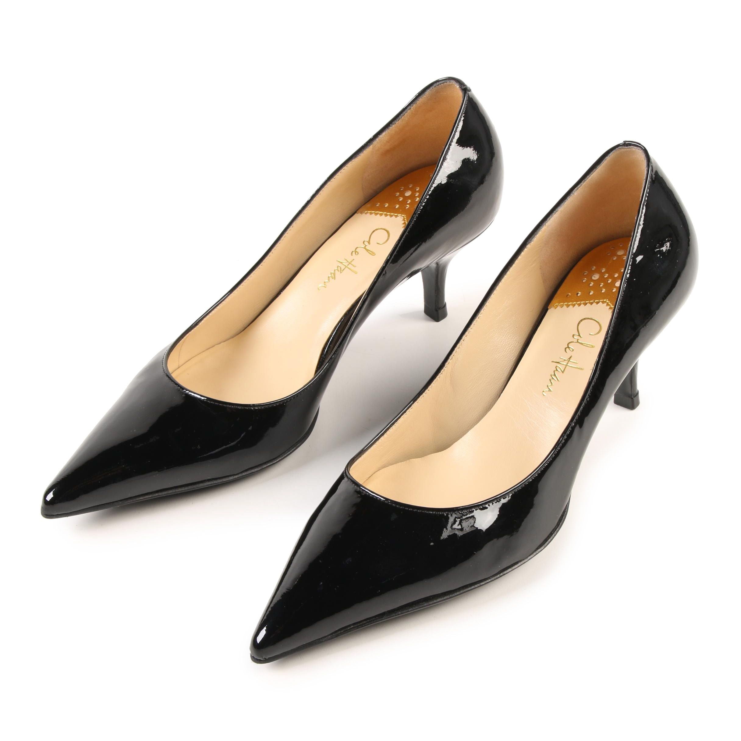 Cole Haan Fiona Low Air Pumps in Black Patent Leather