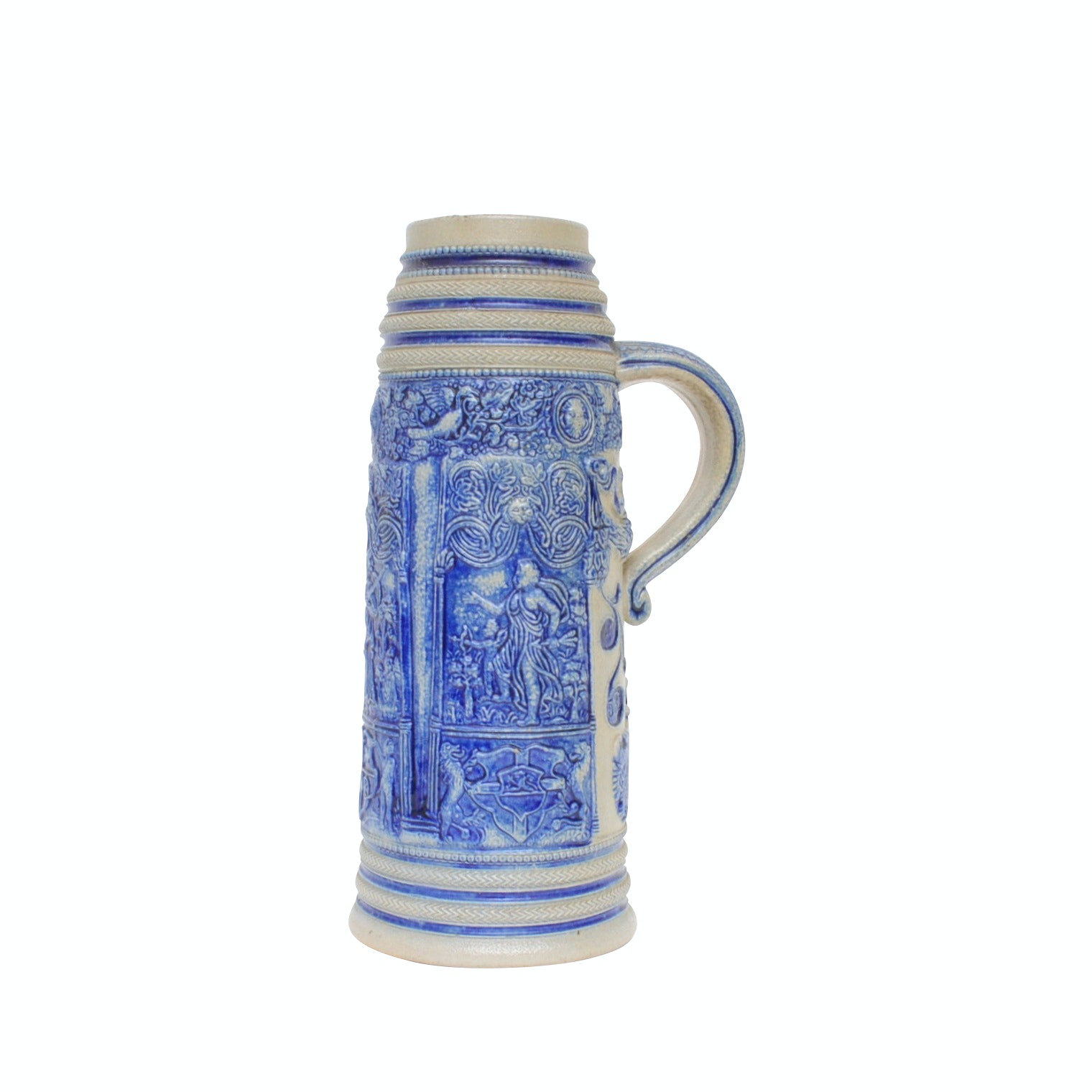 Blue and White German Embossed Figural Stoneware Stein