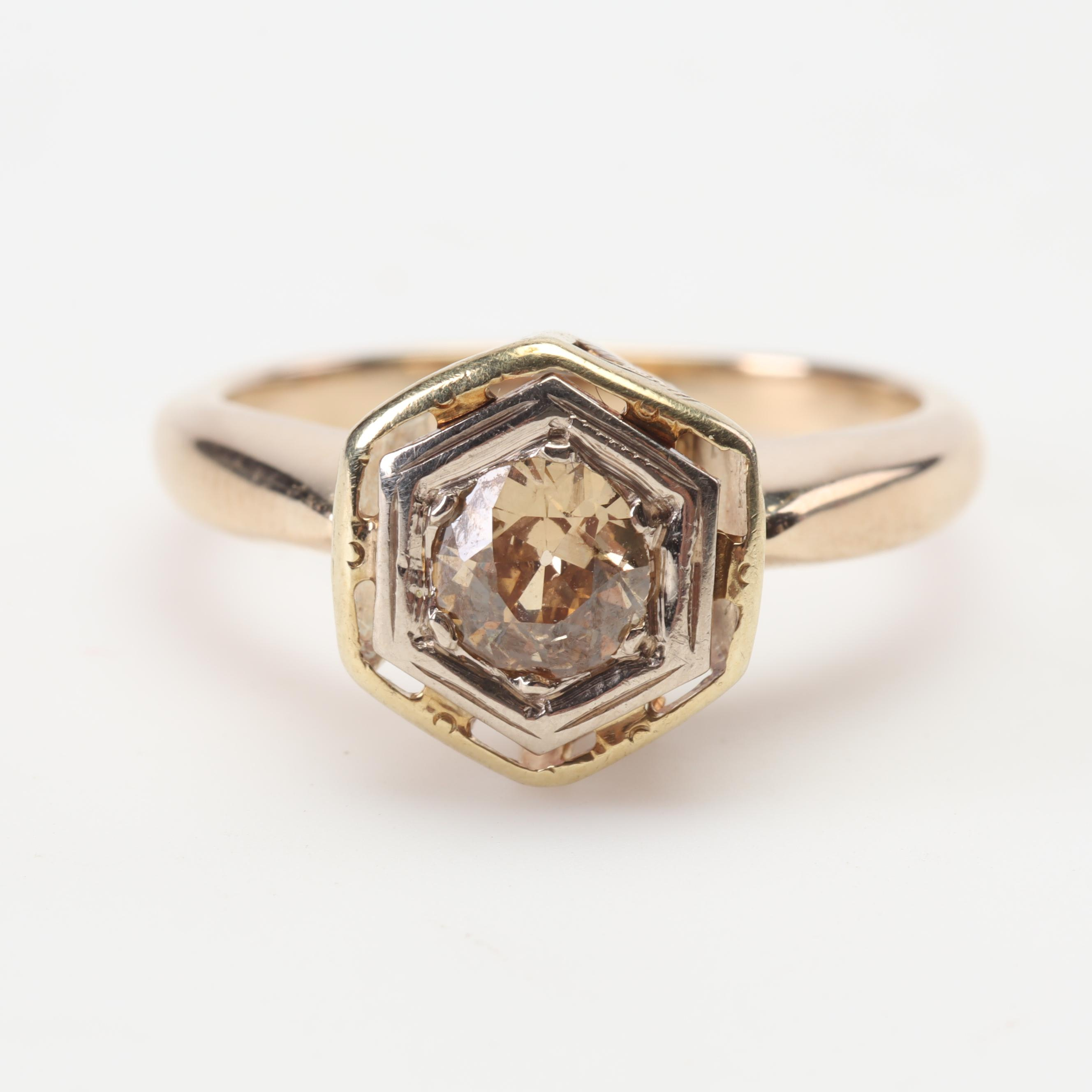 Antique 14K Yellow Gold and Old European Cut Diamond Ring, Circa 1910