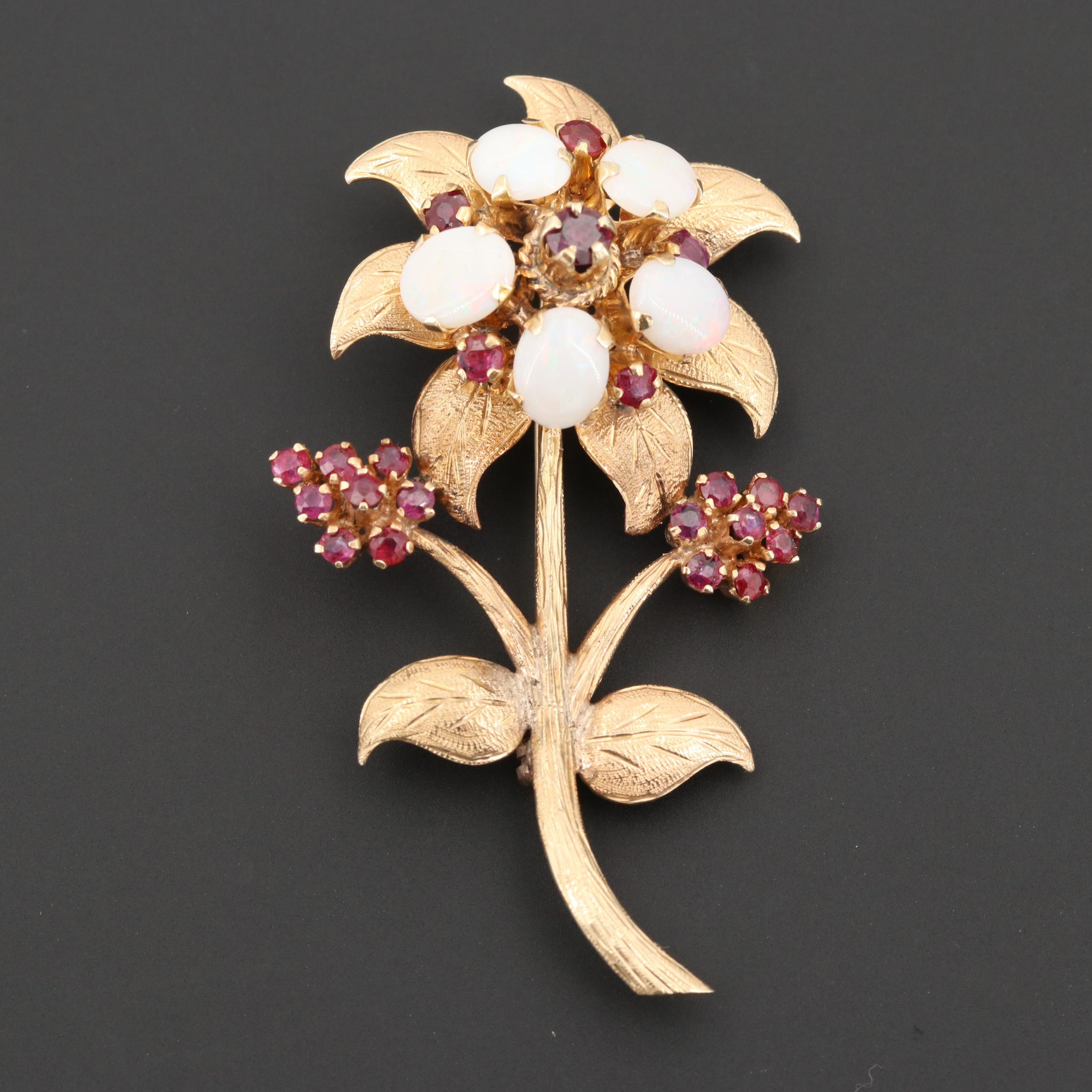 Vintage 14K Yellow Gold Opal and Ruby Flower Brooch