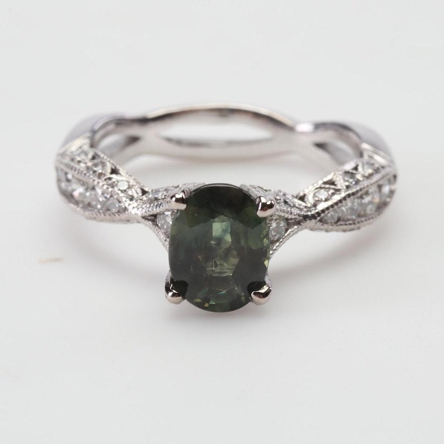 18K White Gold Tacori 1.50 CT Sapphire and Diamond Ring