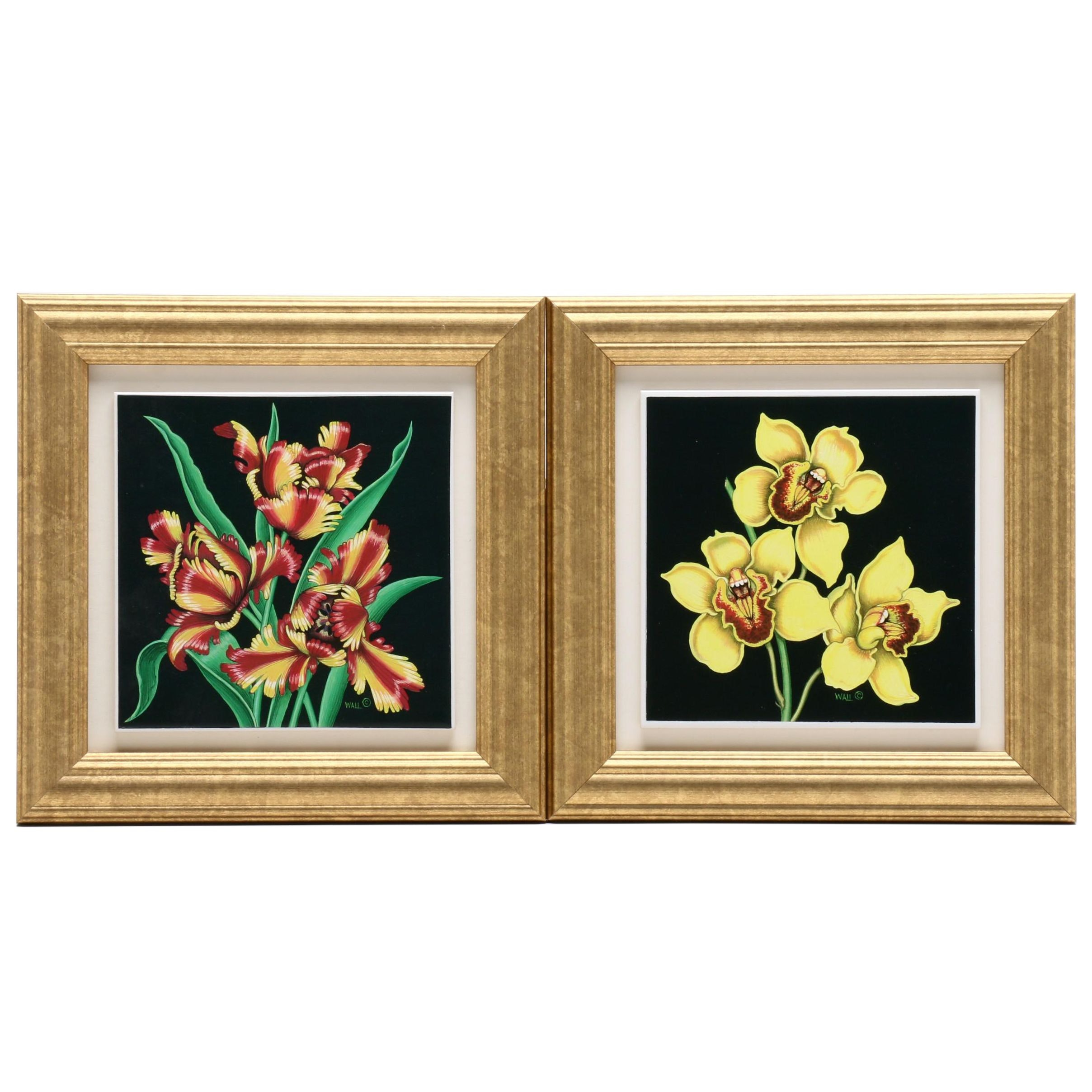 Sue Wall Studio Art Flowers on Ceramic Plaques