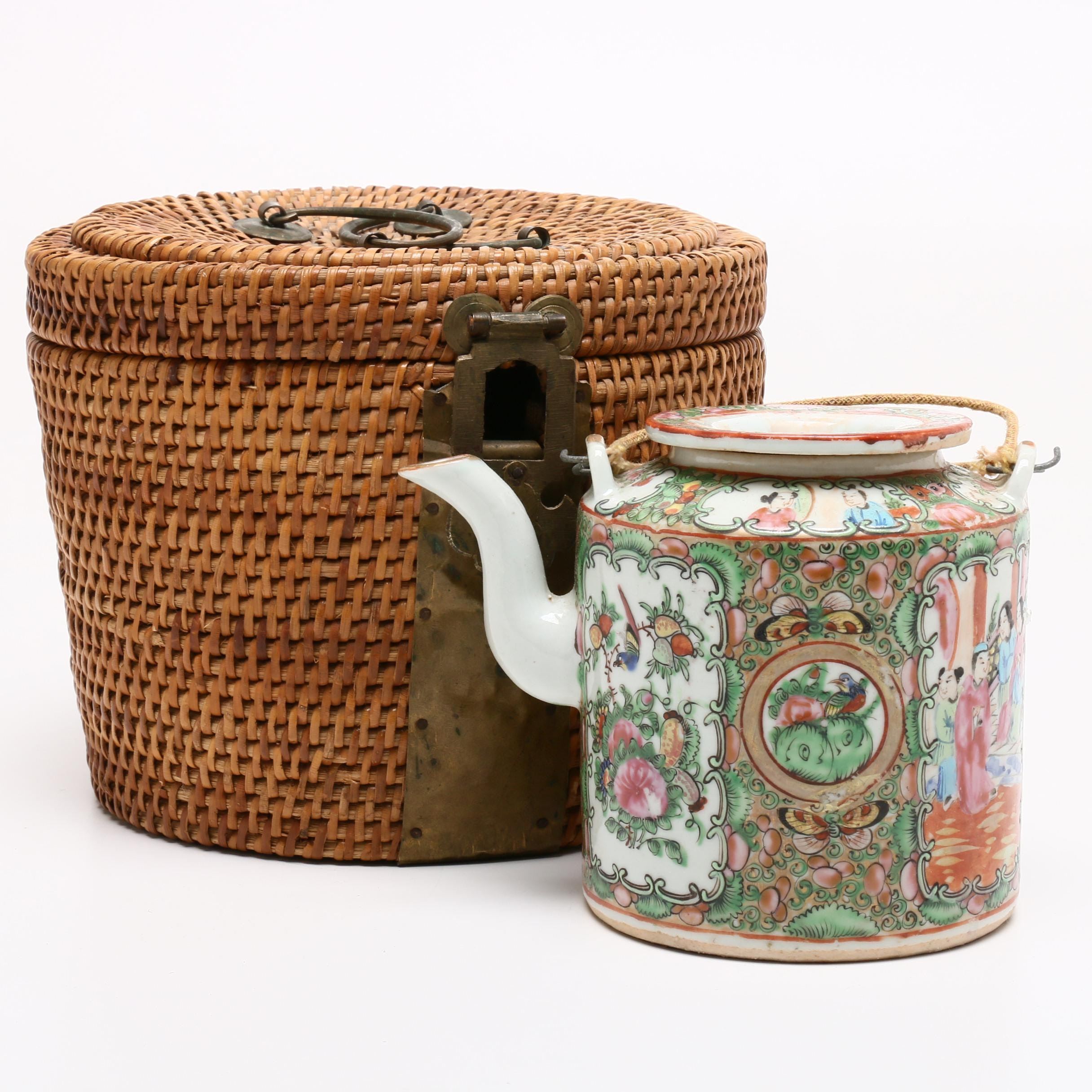 Chinese Rose Medallion Teapot with Woven Basket
