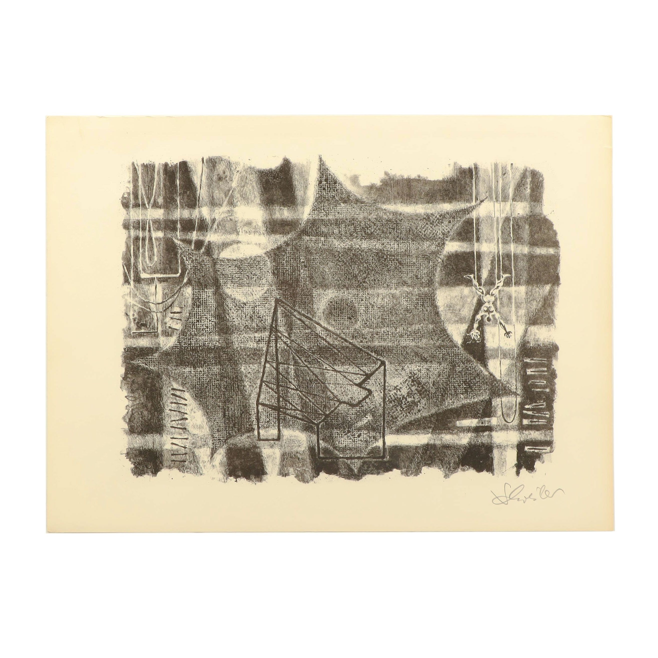 """Georges Schreiber Lithograph """"Without a Net"""""""