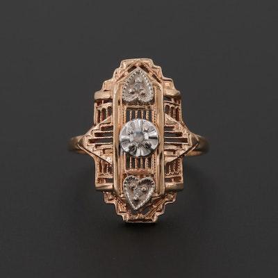 ab3905ae8a3 Art Deco 10K Rose Gold Diamond Openwork Ring