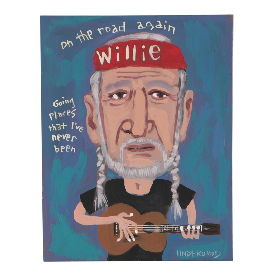 "J. Underwood Folk Art Acrylic Painting ""Willie Nelson"""