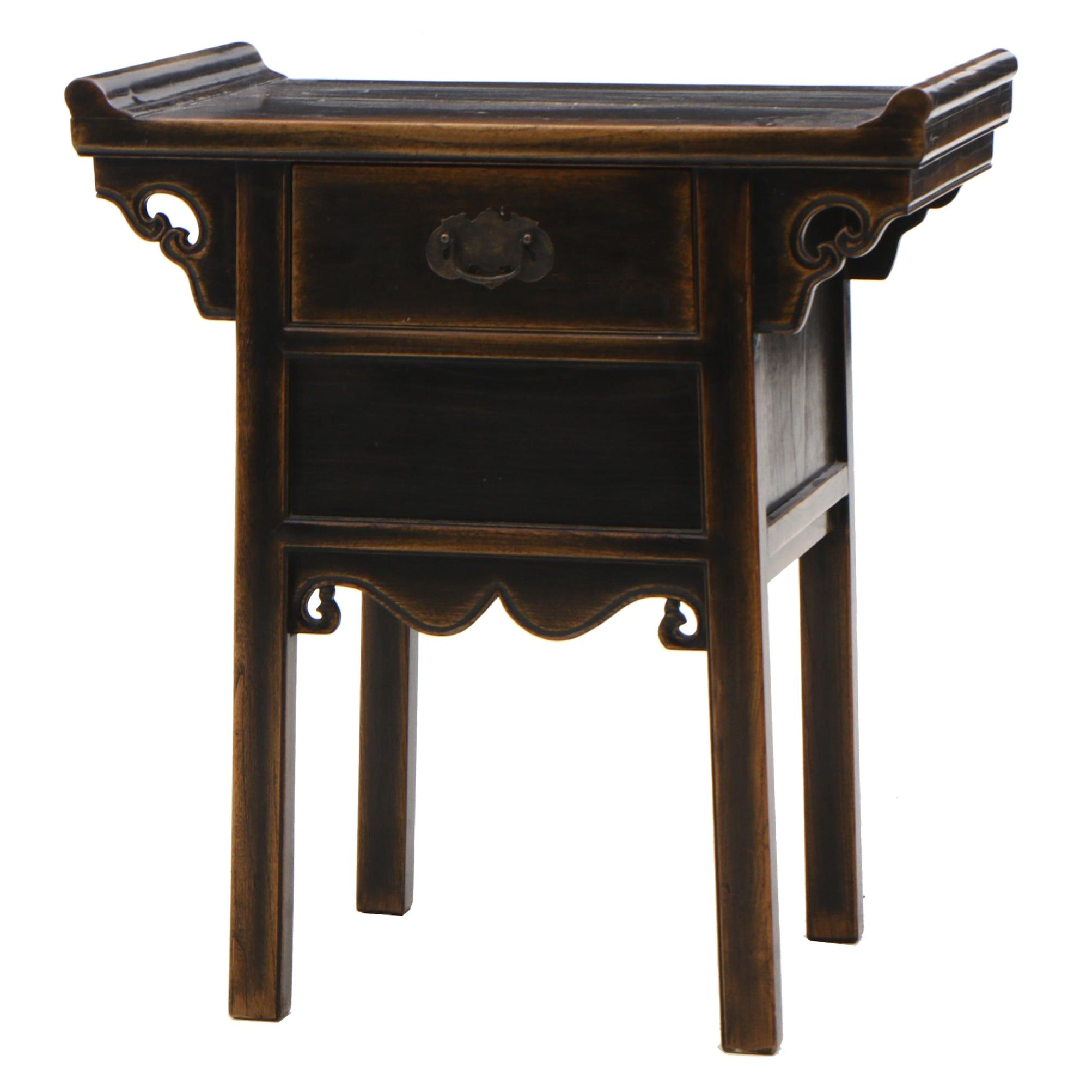 Chinese Elm Altar Style End Table, Contemporary