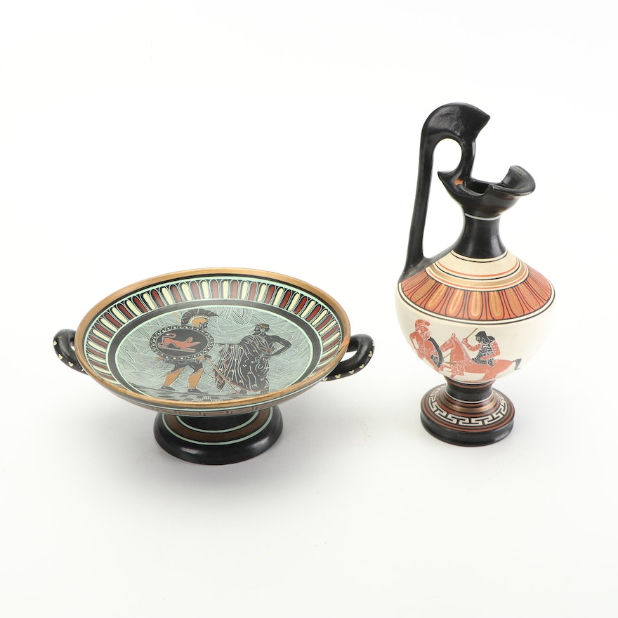 Grecian Pottery Pitcher and Platter