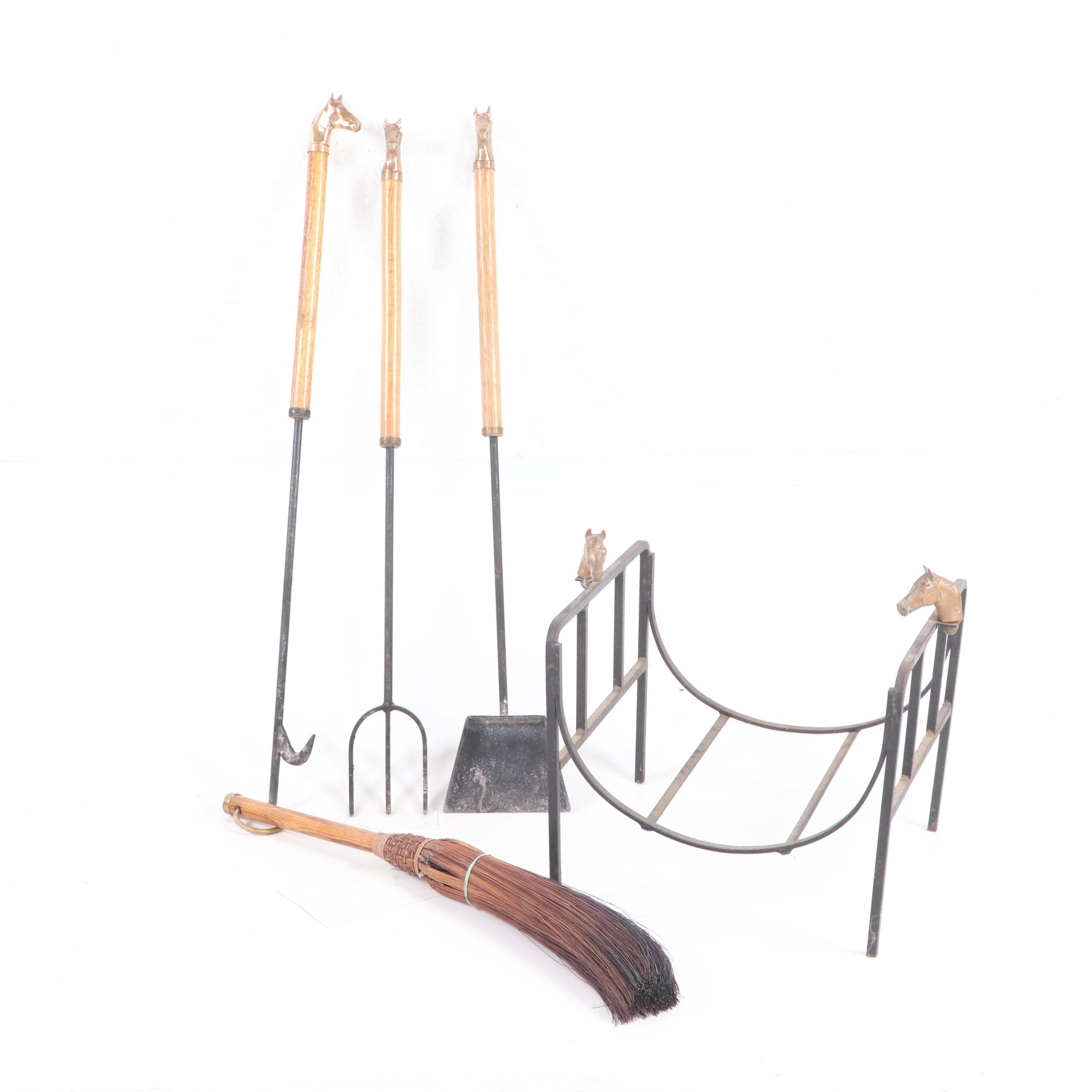 Fireplace Tools and Accessories with Brass Horse Accents, Mid-Century