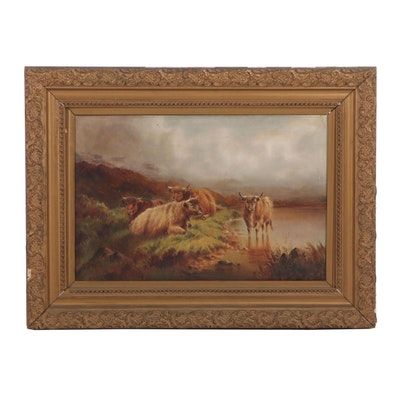 William Perring Hollyer Oil Painting of Scottish Highland Cows