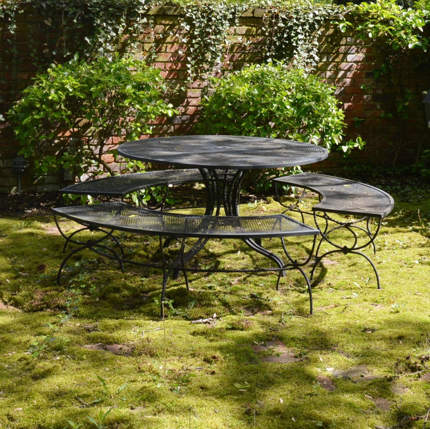 Wrought Iron Mesh Patio Dining Table with Three Benches