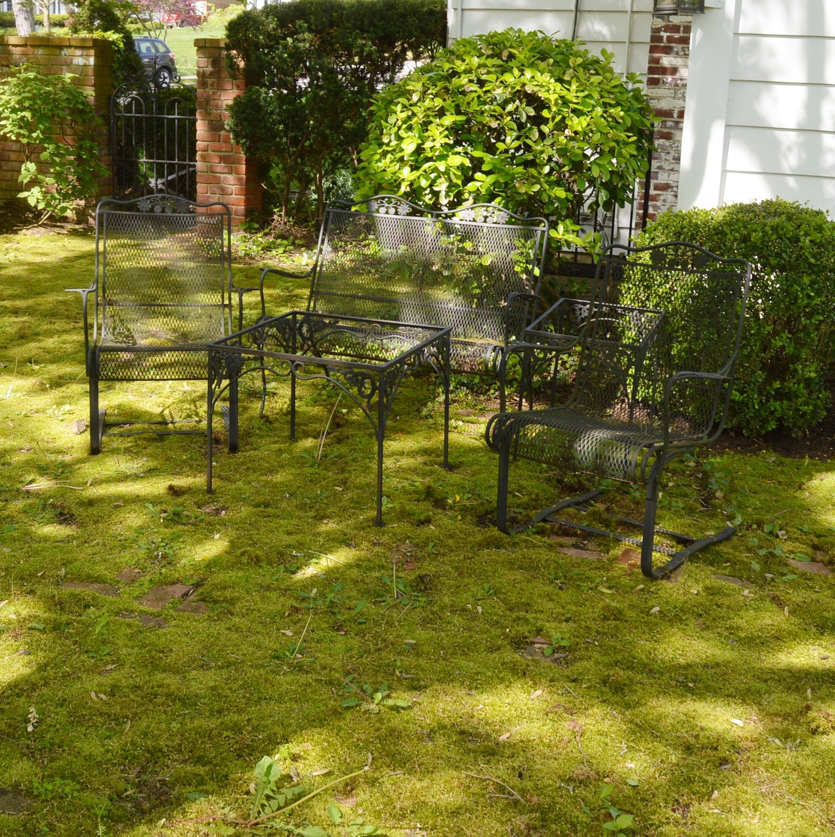 Wrought Iron Mesh Patio Armchairs, Bench, and Side Tables