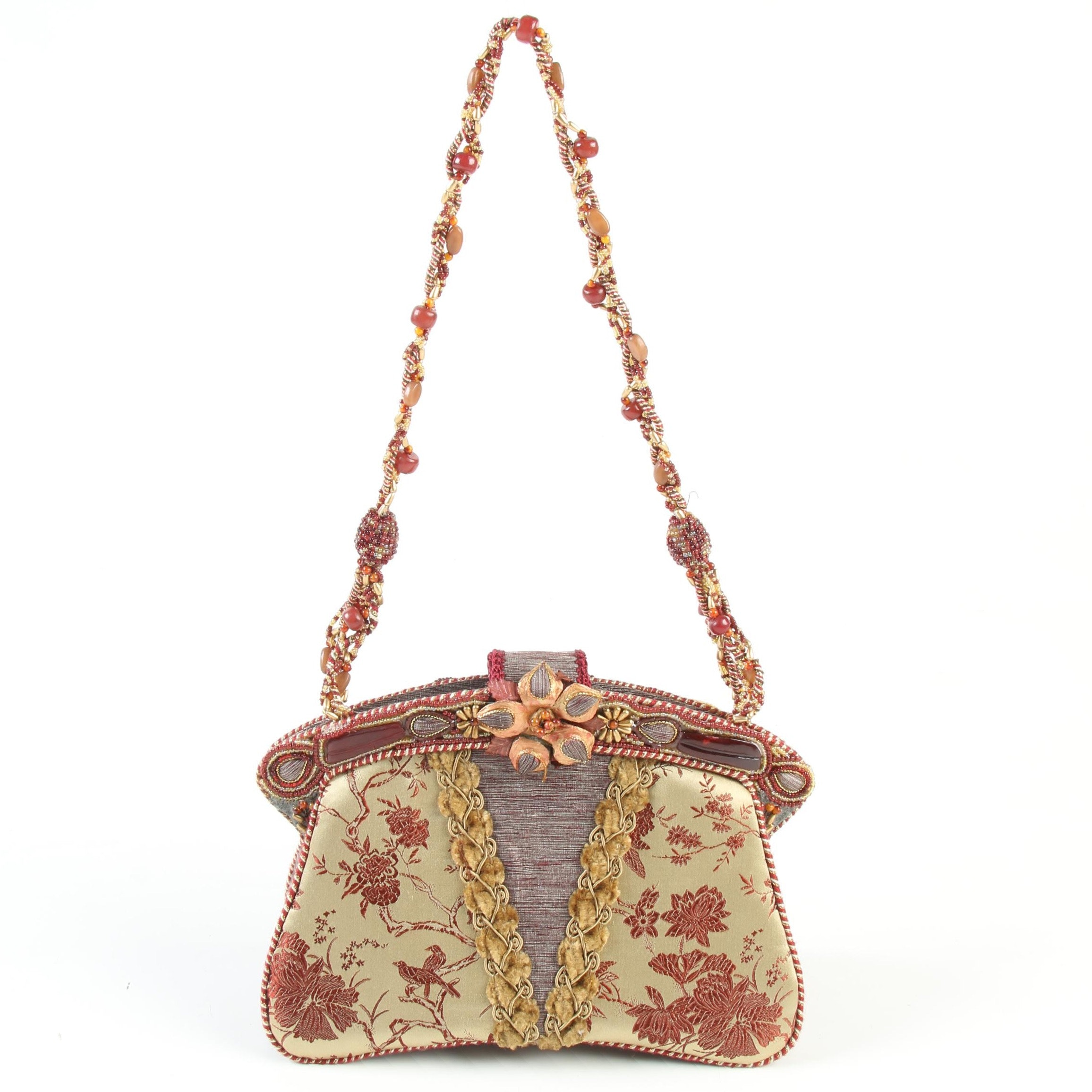 Mary Frances Embellished Handbag with Chinoiserie Motif Brocade