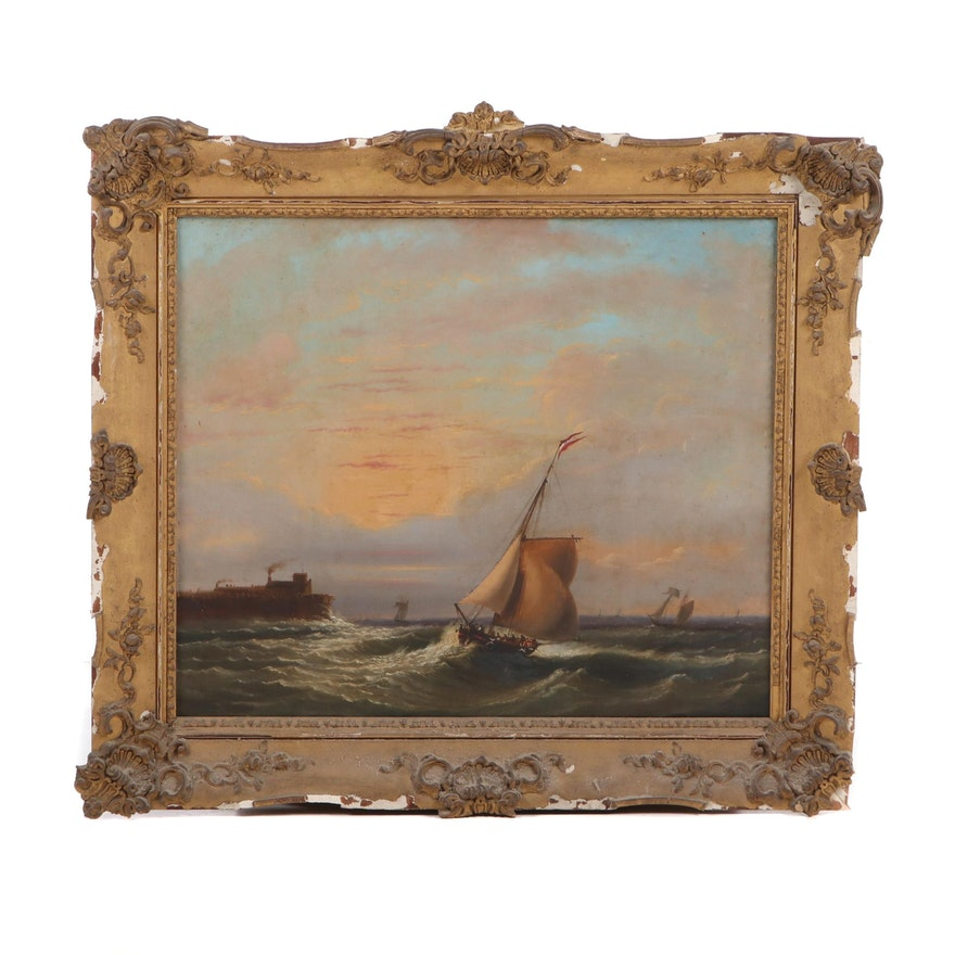 19th Century Seascape Oil Painting