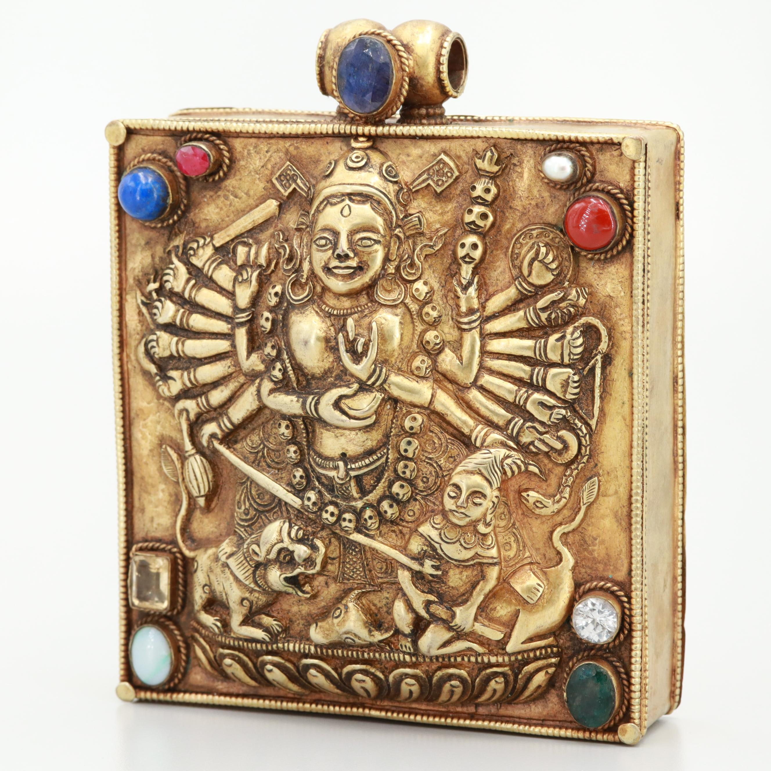 Nepalese-Tibetan Ruby, Sapphire and Emerald Amulet Box
