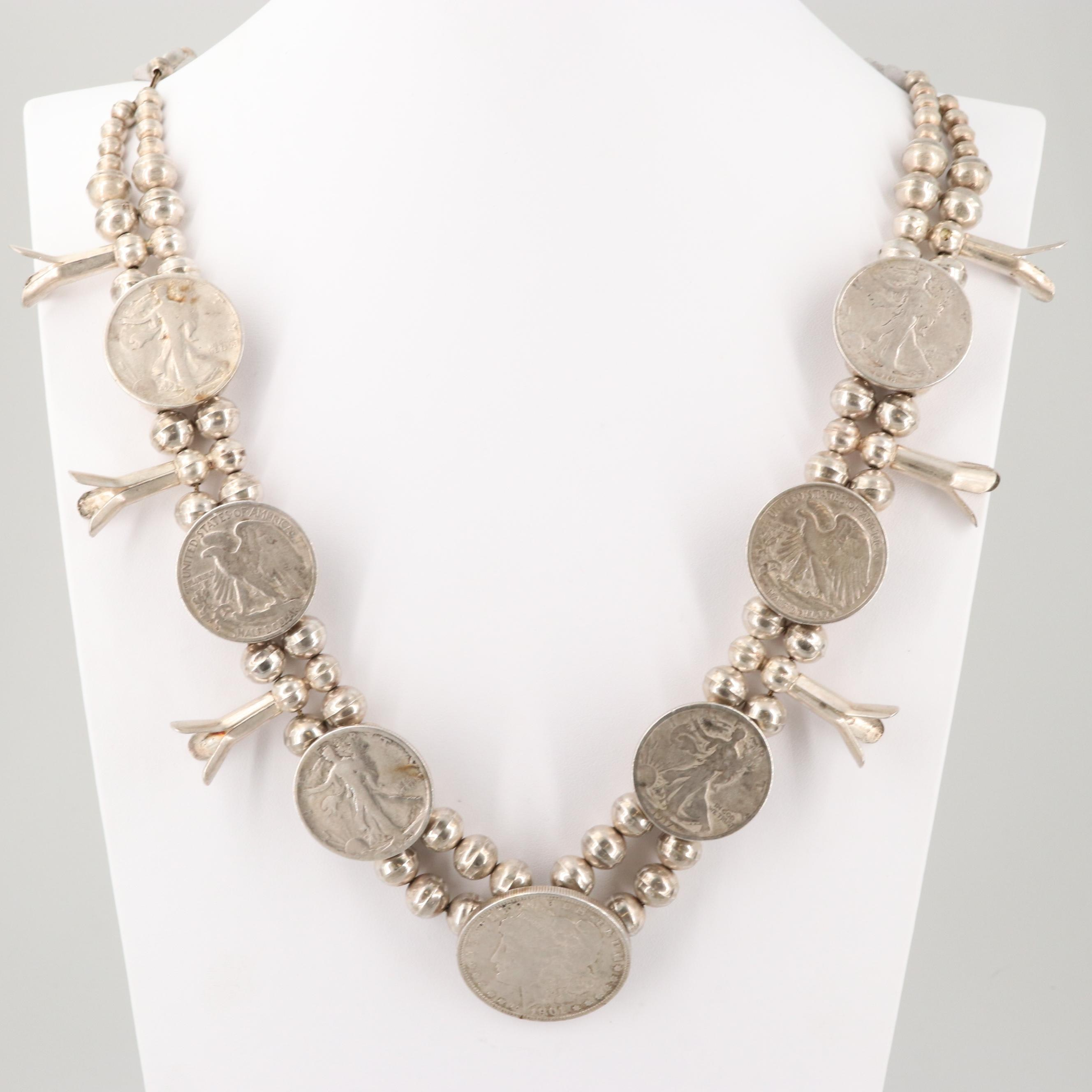 Southwestern Sterling Squash Blossom Necklace with Liberty and Morgan Coins