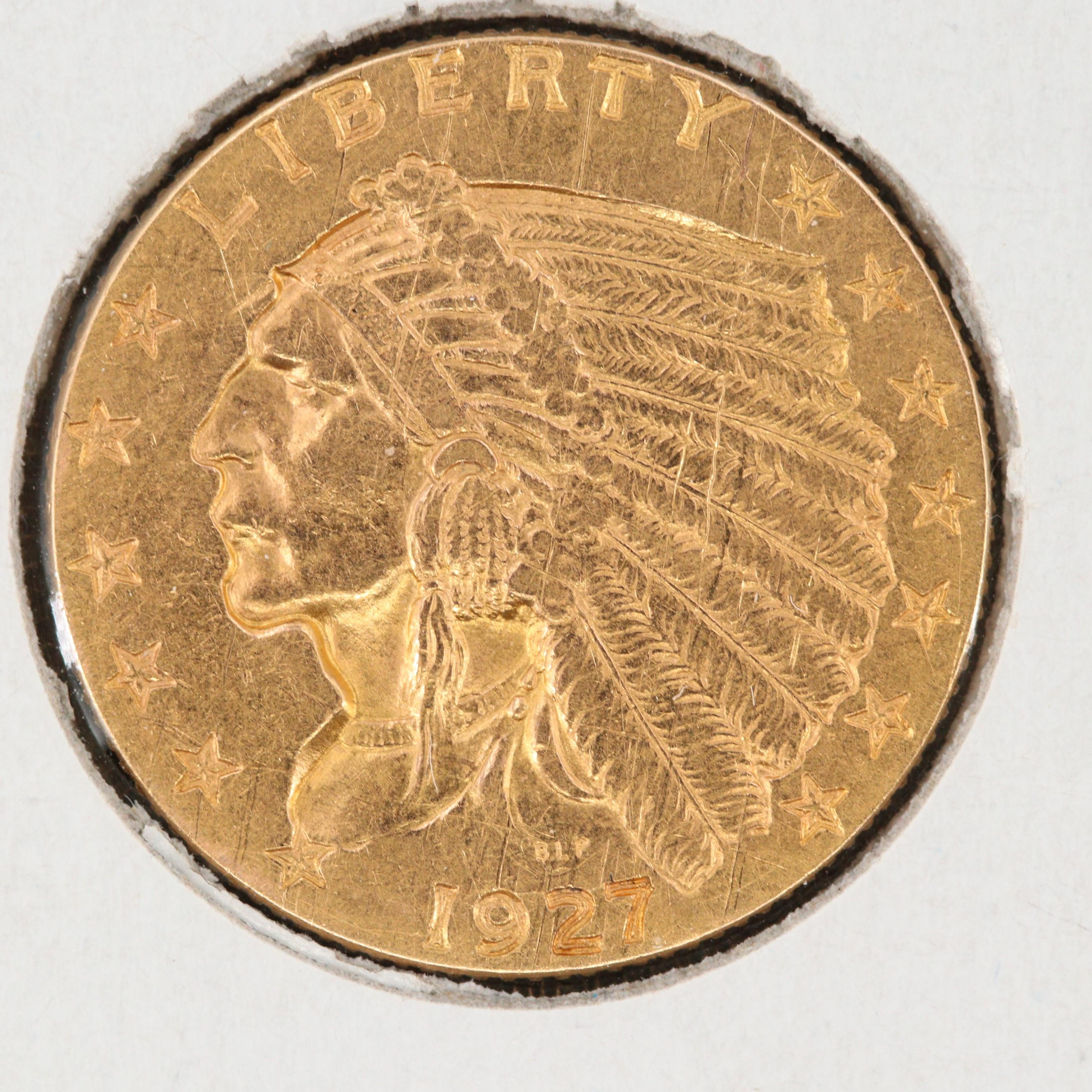 1927 Indian Head $2 1/2 Gold Coin