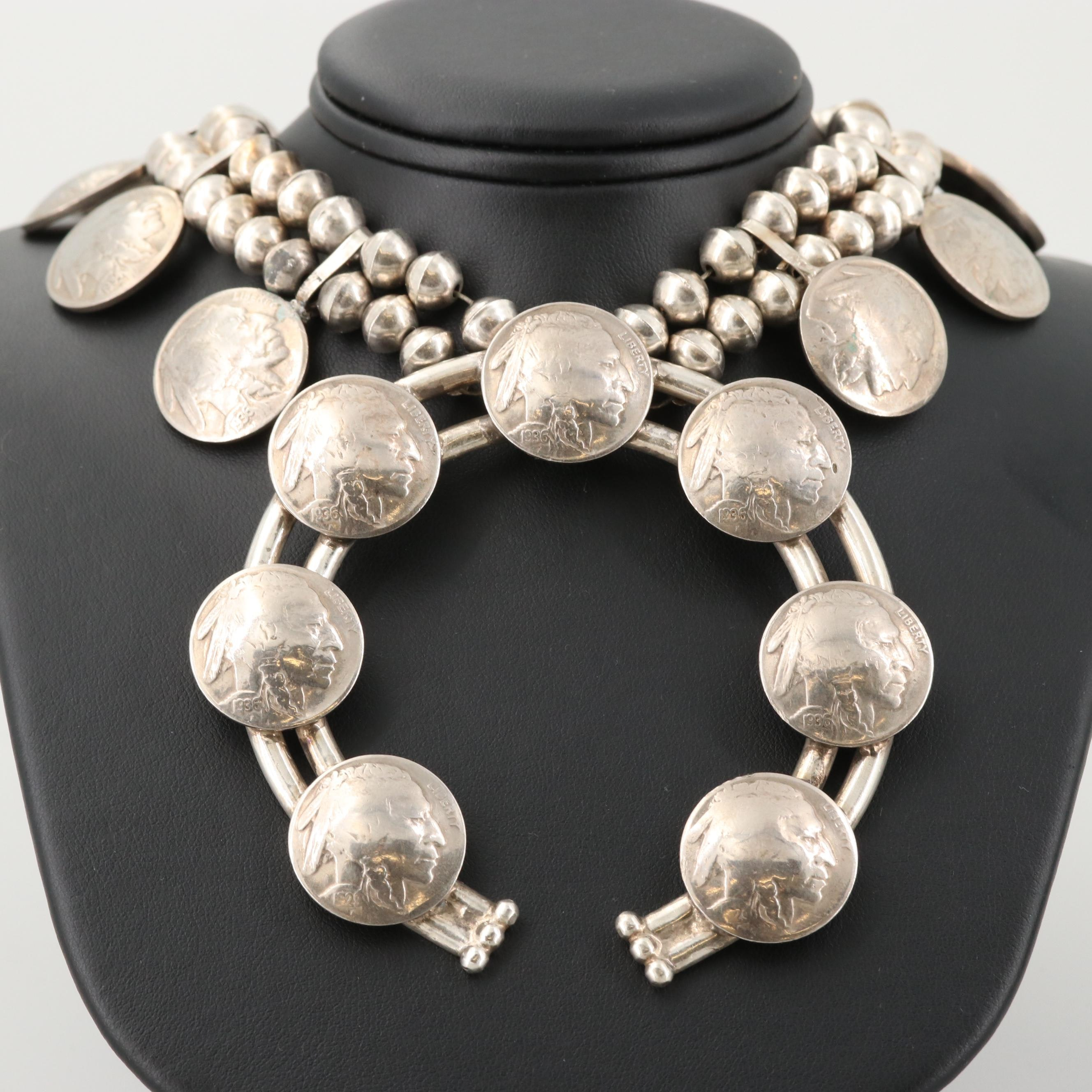 Mary Dayea Navajo Diné Sterling Naja Pendant Necklace with Buffalo Nickels